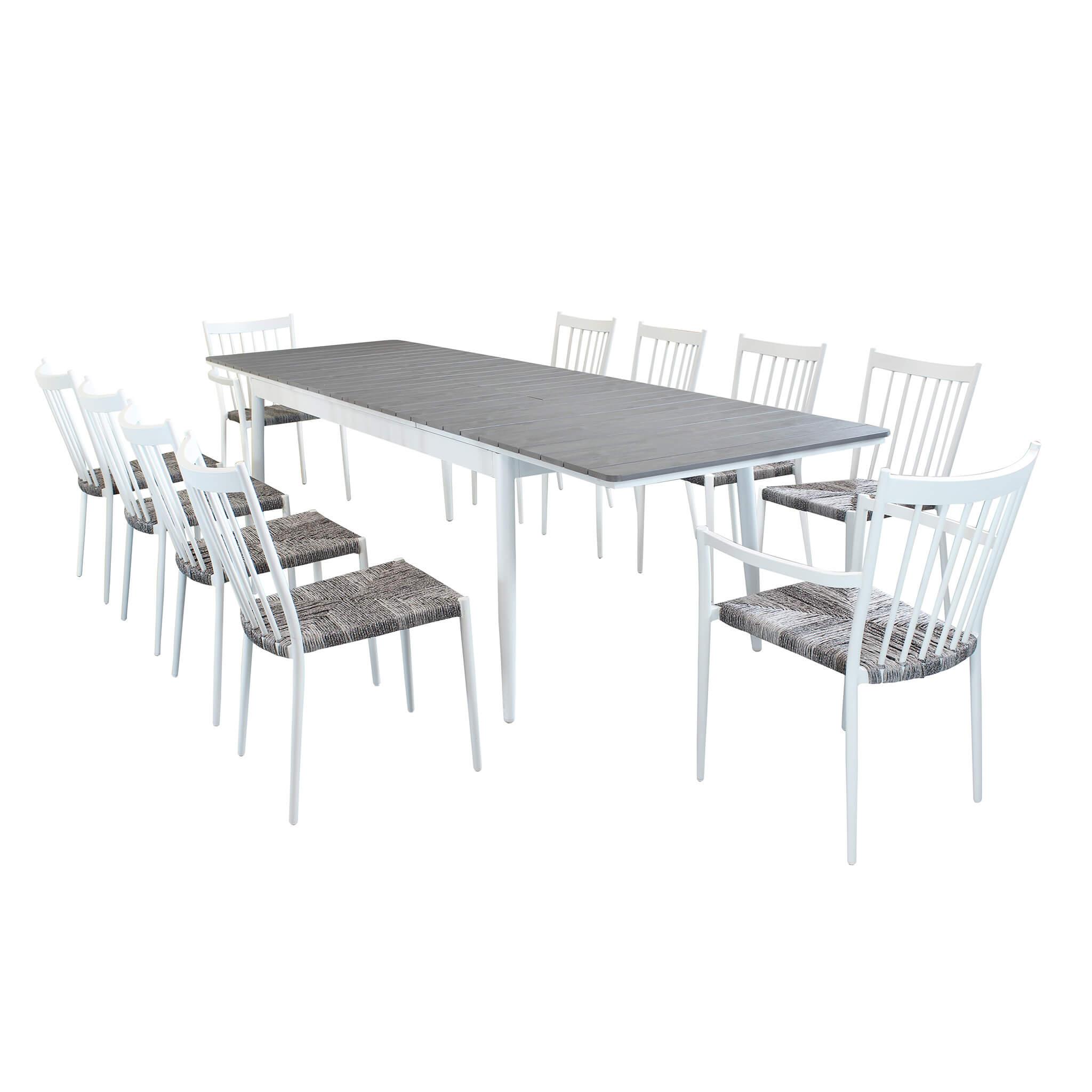 Milani Home IMPERIUM - set tavolo da giardino allungabile in alluminio e polywood 200/300 x 90 compreso di 8 sedie e 2 poltrone in alluminio e polyrattan