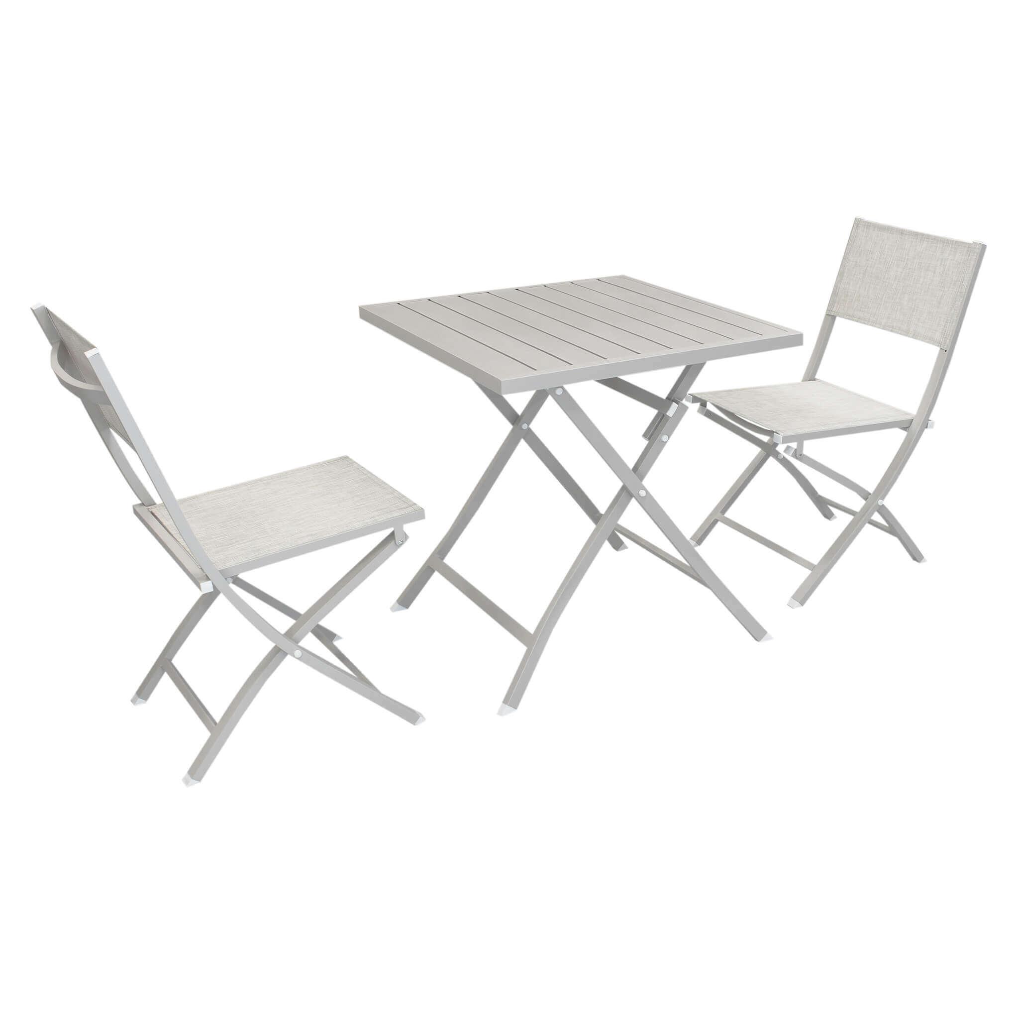 Milani Home ABELUS - set tavolo da giardino pieghevole salvaspazio in alluminio 70 x 70 comrpeso di 2 sedie in alluminio e textilene