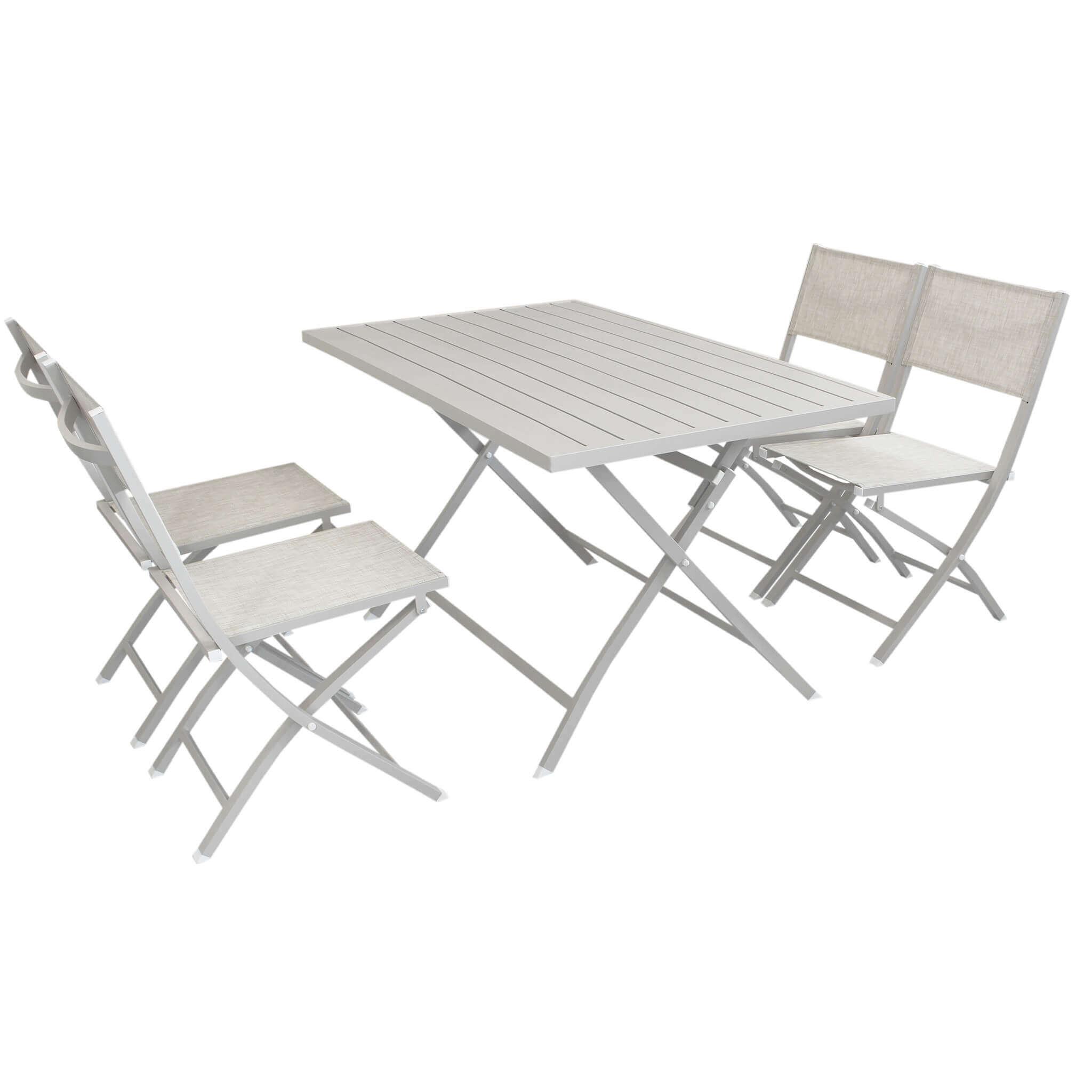 Milani Home ABELUS - set tavolo da giardino pieghevole salvaspazio in alluminio 70 x 130 comrpeso di 2 sedie in alluminio e textilene