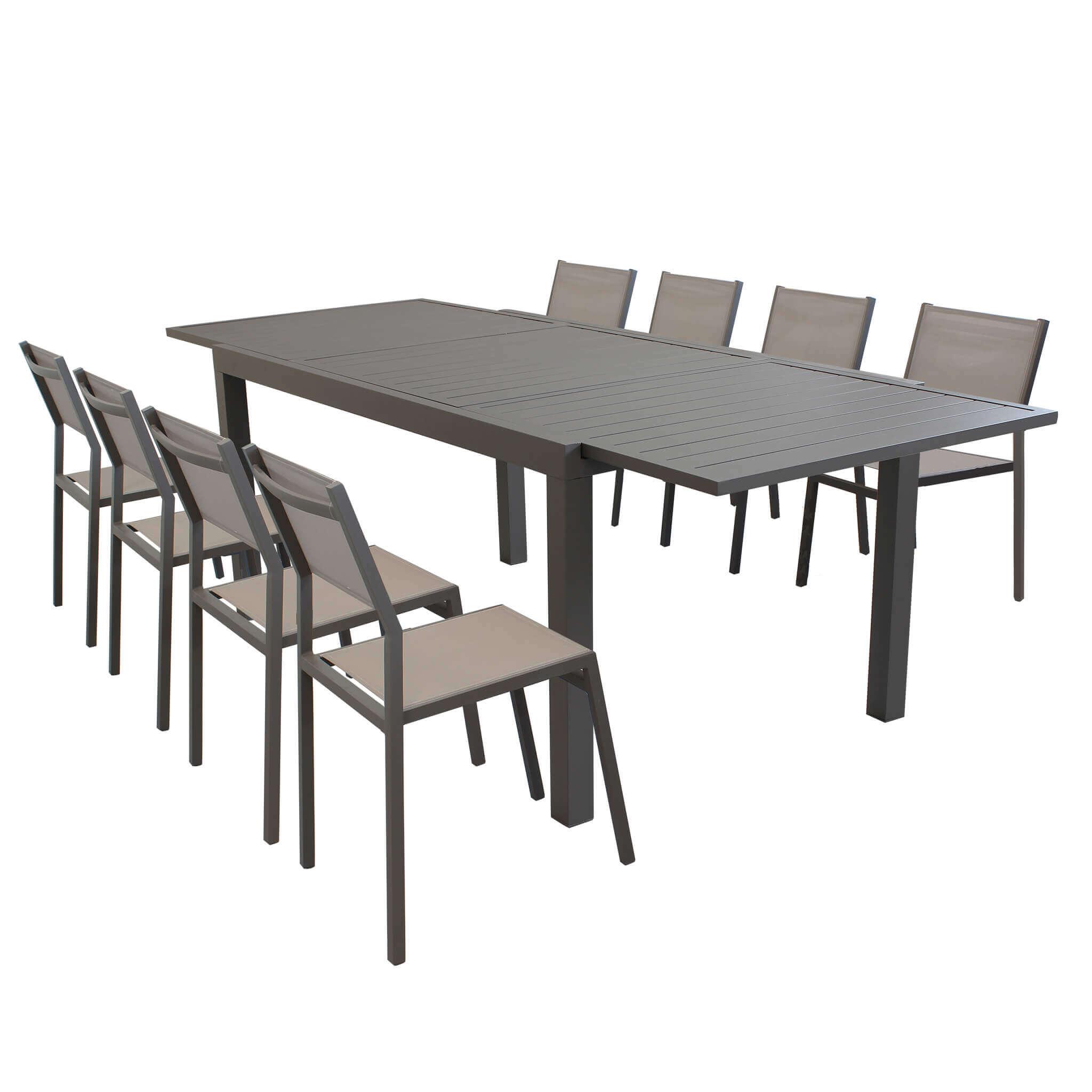 Milani Home DEXTER - set tavolo giardino rettangolare allungabile 160/240 x 90 con 8 sedie in alluminio e textilene taupe da esterno