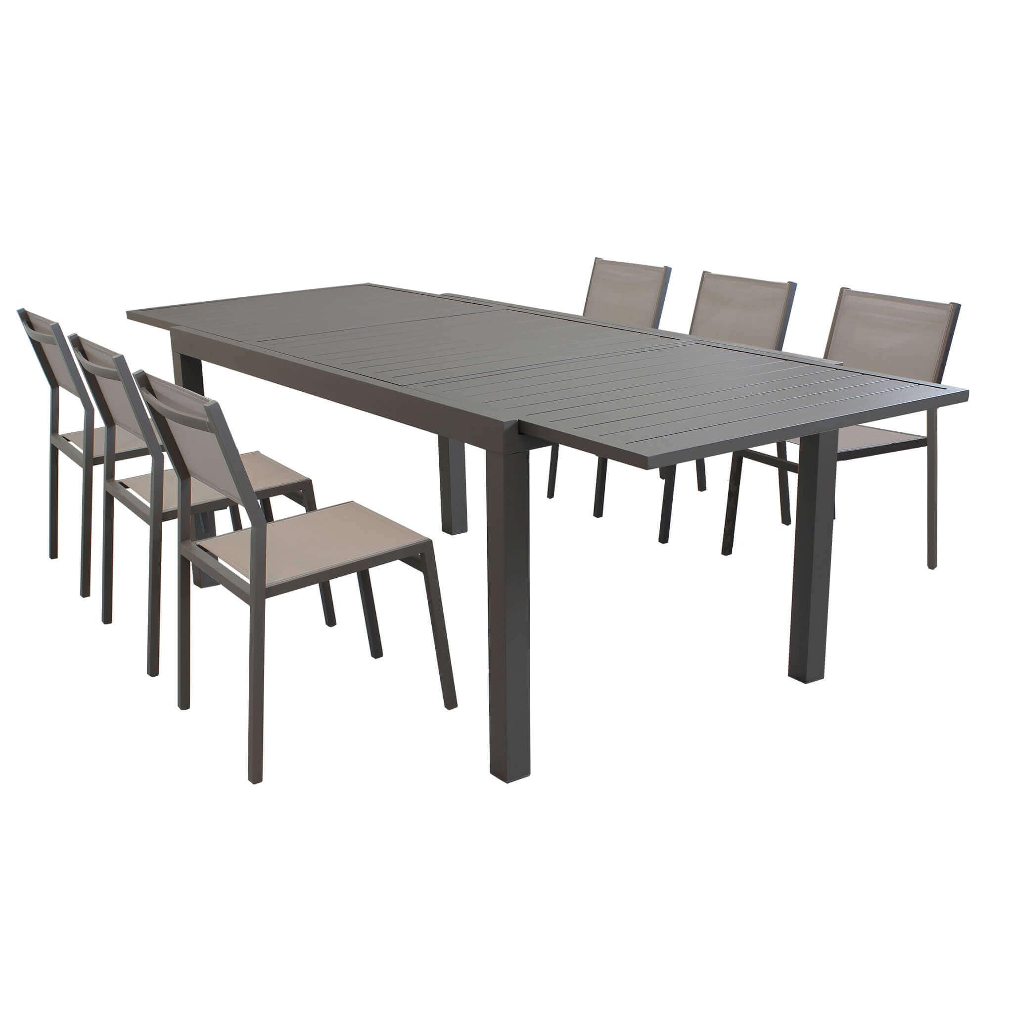 Milani Home DEXTER - set tavolo giardino rettangolare allungabile 200/300 x 100 con 6 sedie in alluminio e textilene taupe da esterno