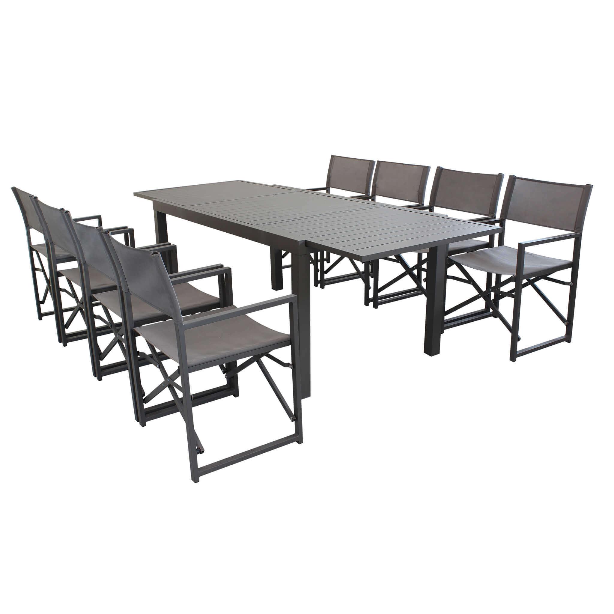 Milani Home DEXTER - set tavolo da giardino allungabile 160/240 x 90 compreso di 8 poltrone in alluminio