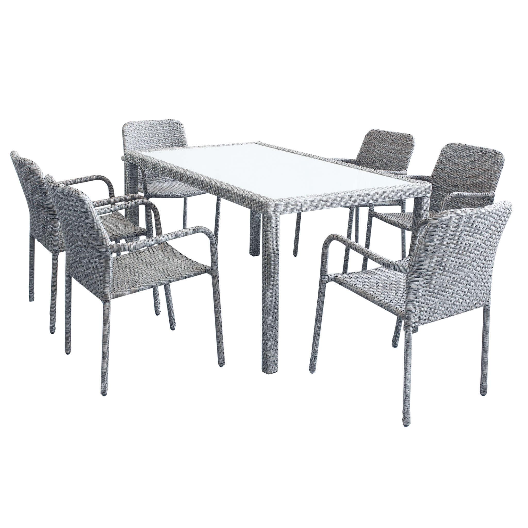 Milani Home AXONA - set tavolo da giardino con piano in vetro 150 x 90 compreso di 6 poltrone intreccio in rattan sintetico