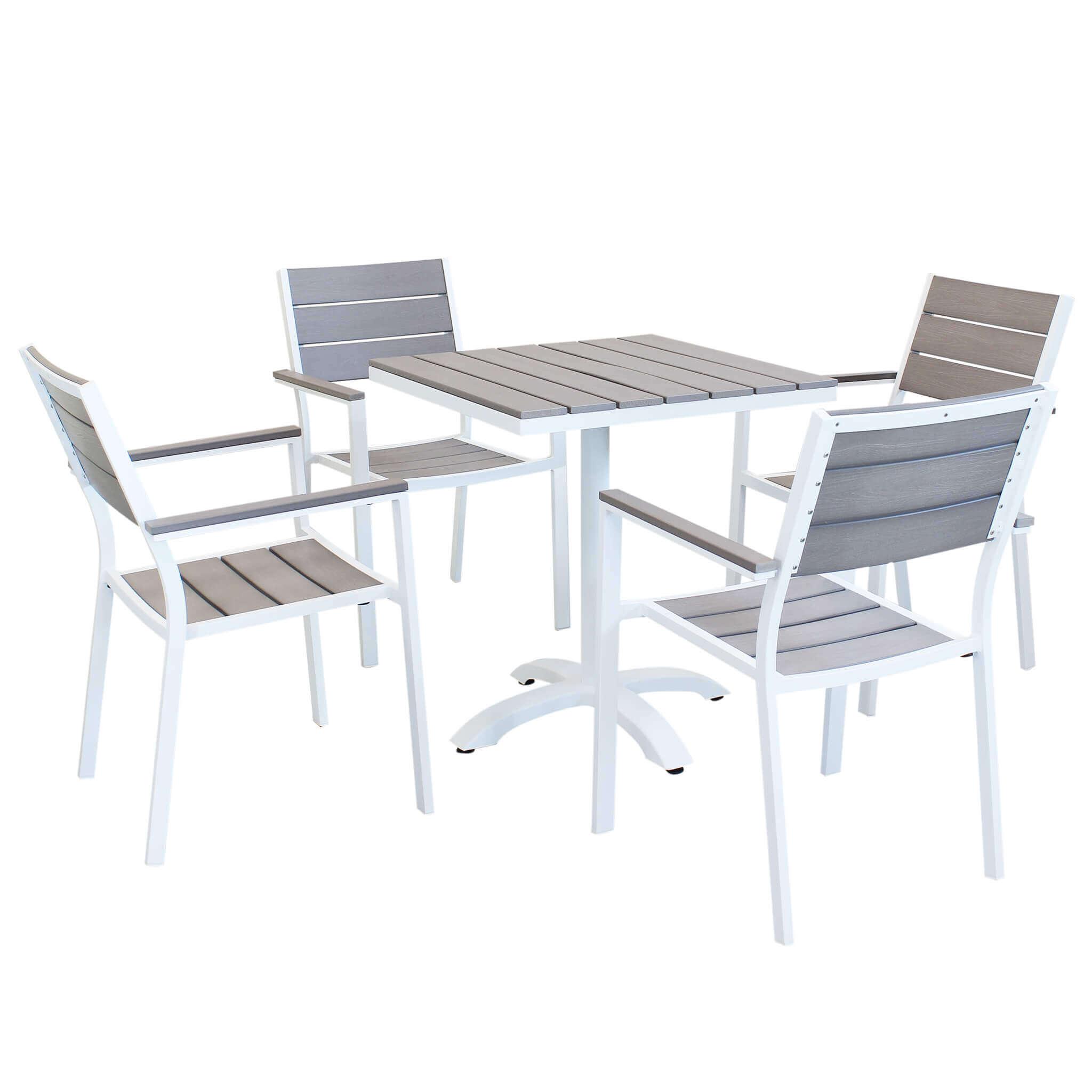 Milani Home XANTHUS - set tavolo da giardino 70 x 70 compreso di 4 poltorne in alluminio e polywood