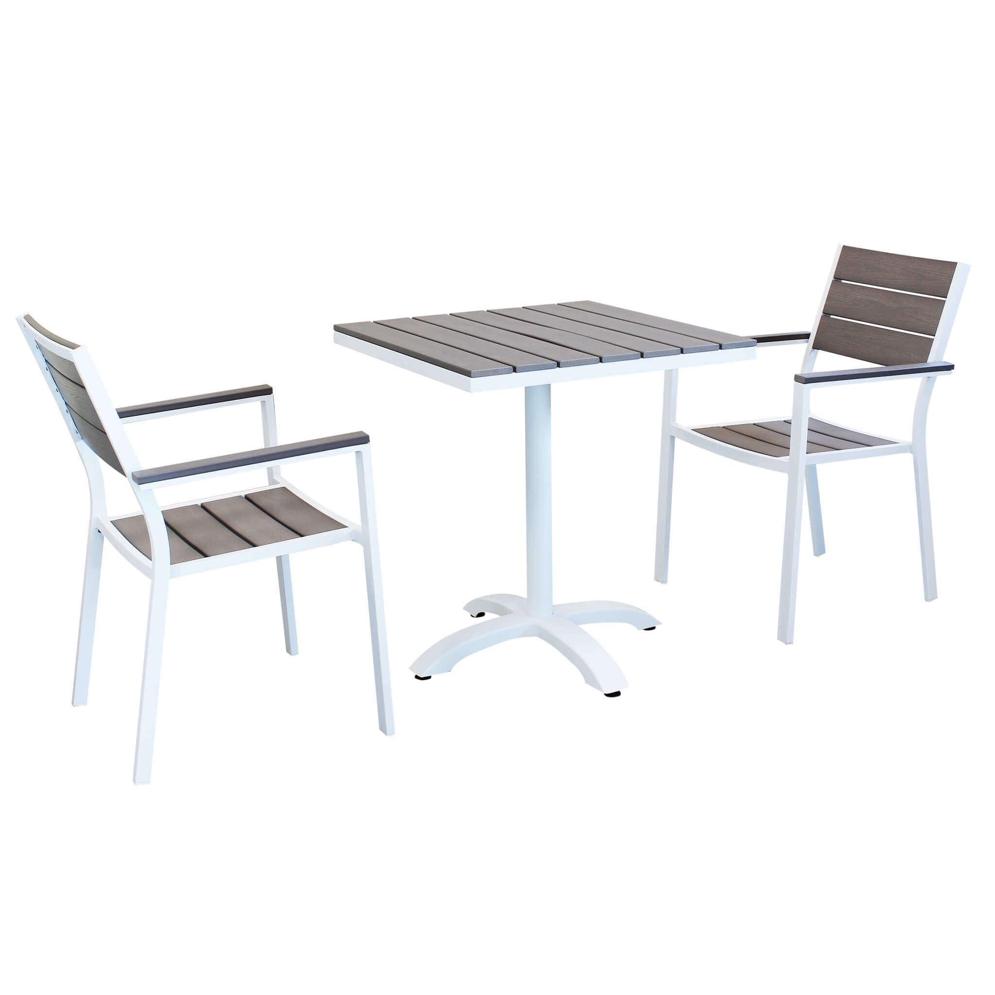 Milani Home XANTHUS - set tavolo da giardino 70 x 70 compreso di 2 poltrone in alluminio e polywood