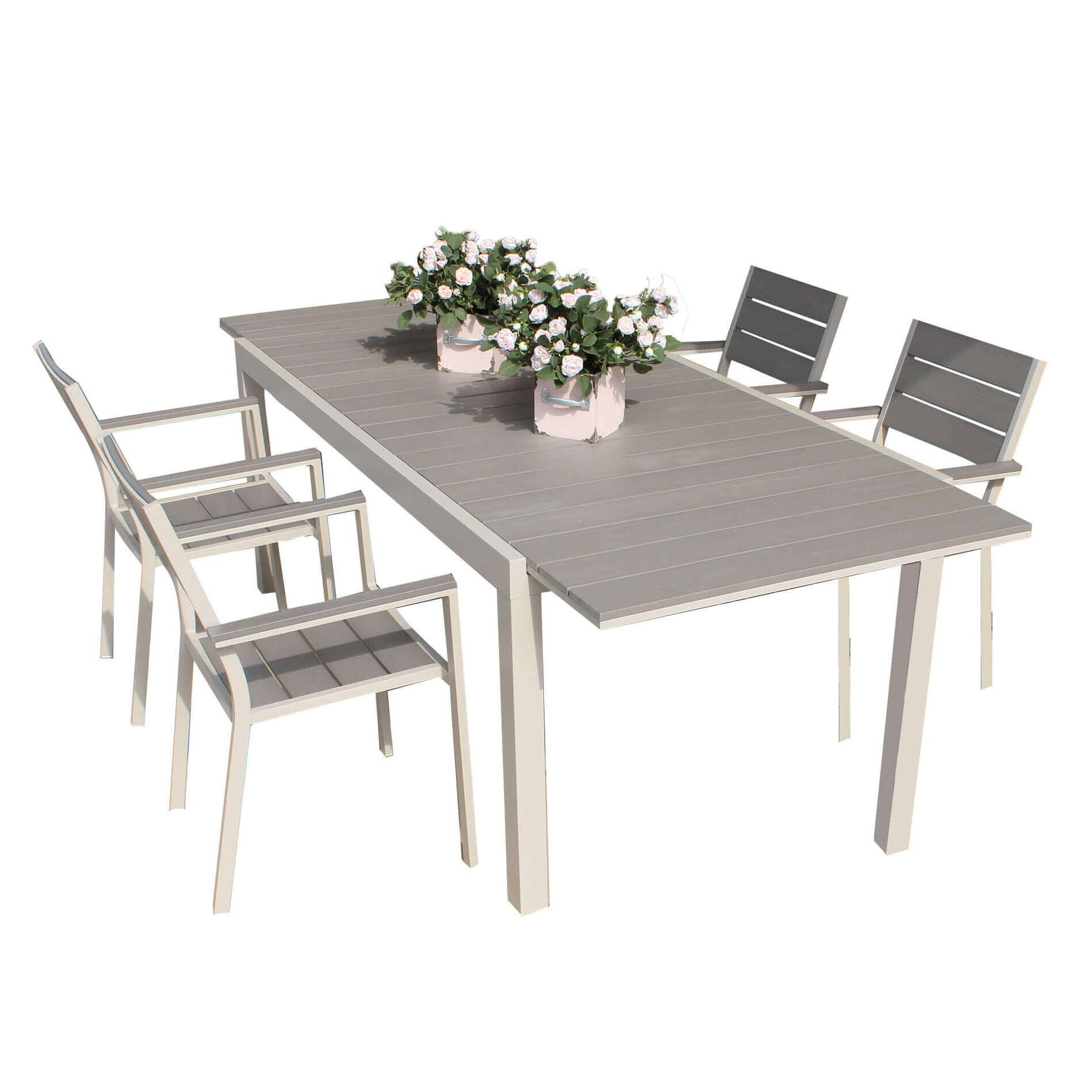 Milani Home TRIUMPHUS - set tavolo da giardino allungabile 180/240 x 100 compreso di 4 poltorne in alluminio e polywood