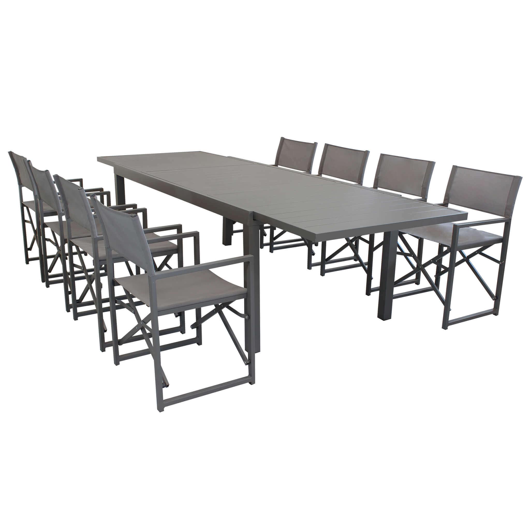 Milani Home DEXTER - set tavolo da giardino allungabile 200/300 x 100 compreso di 8 poltorne in alluminio