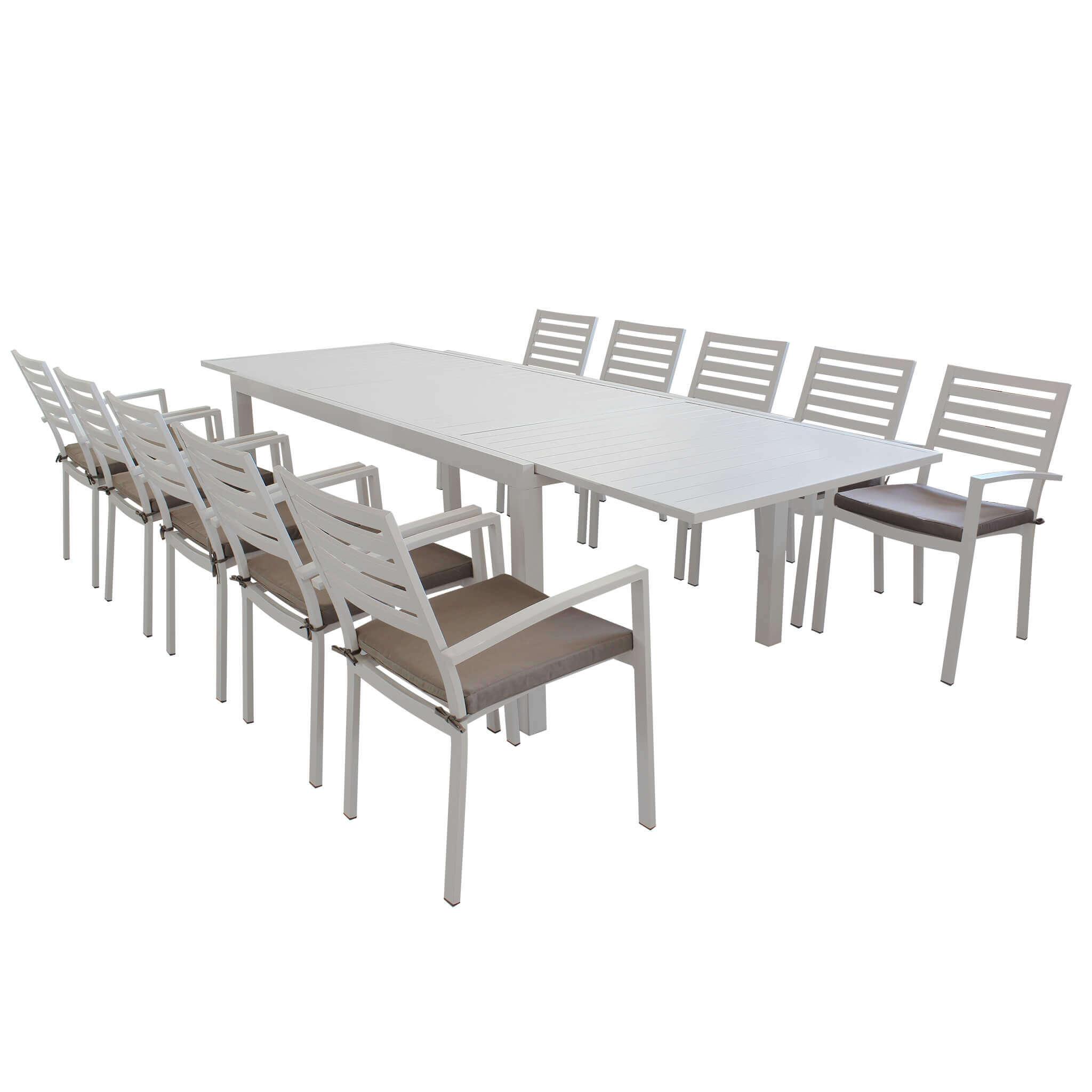 Milani Home DEXTER - set tavolo da giardino allungabile 200/300 x 100 compreso di 10 poltrone in alluminio