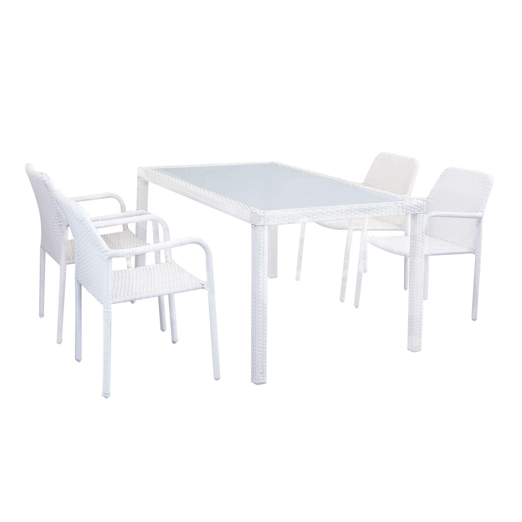 Milani Home AXONA - set tavolo da giardino con piano in vetro 150 x 90 compreso di 4 poltrone intreccio in rattan sintetico