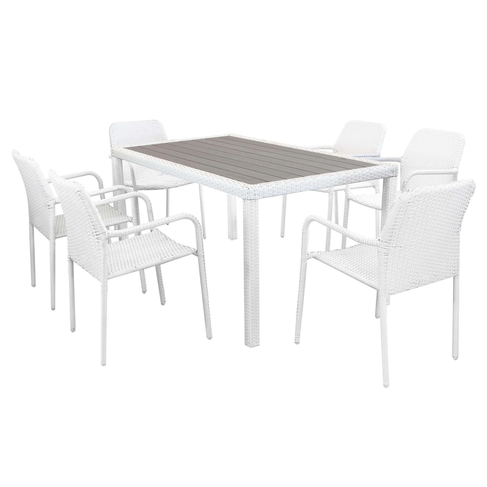 Milani Home AXOR - set tavolo da giardino con piano in polywood 150 x 90 compreso di 6 poltrone intreccio in rattan sintetico