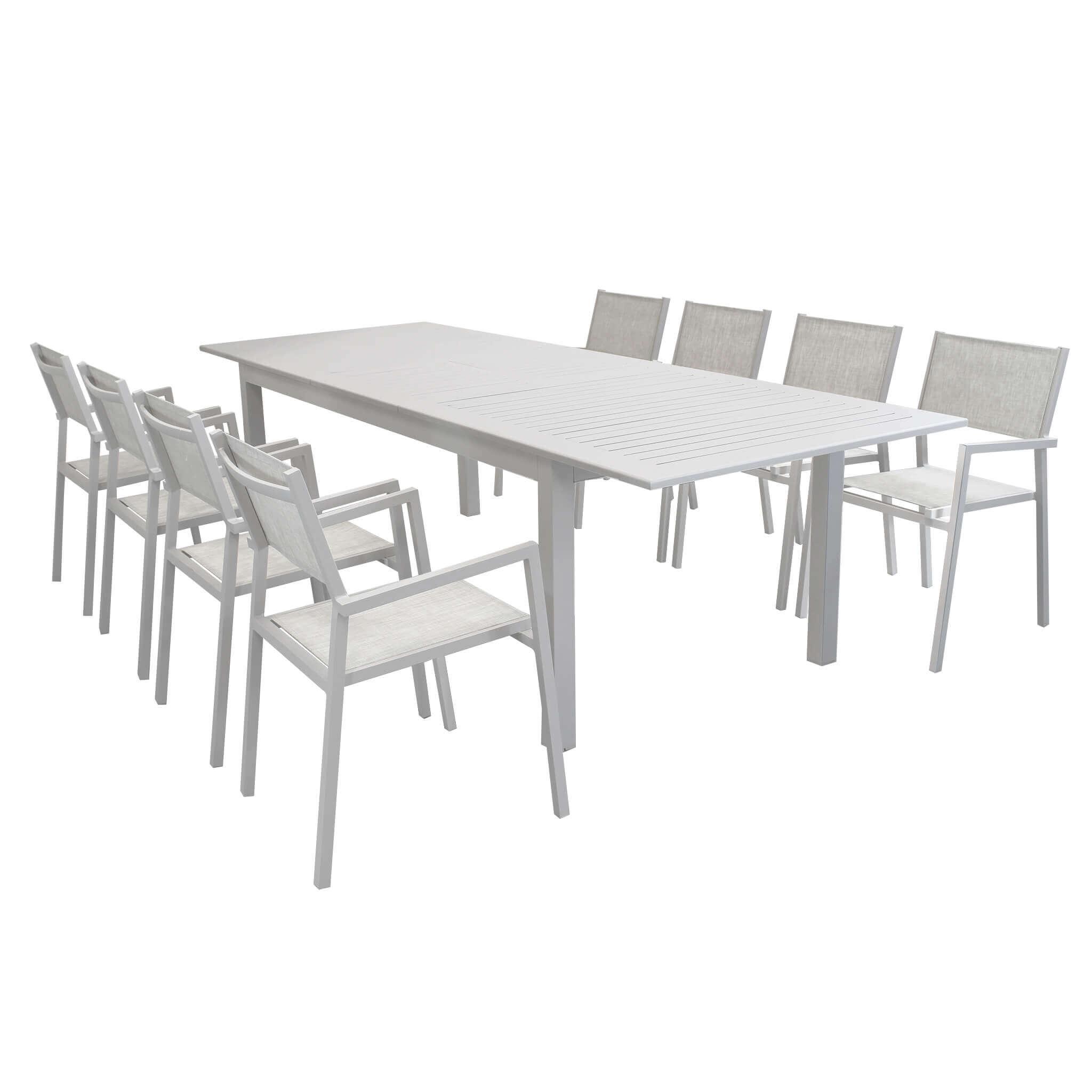 Milani Home ARGENTUM - set tavolo da giardino allungabile 220/280 x 100 compreso di 8 poltrone in alluminio