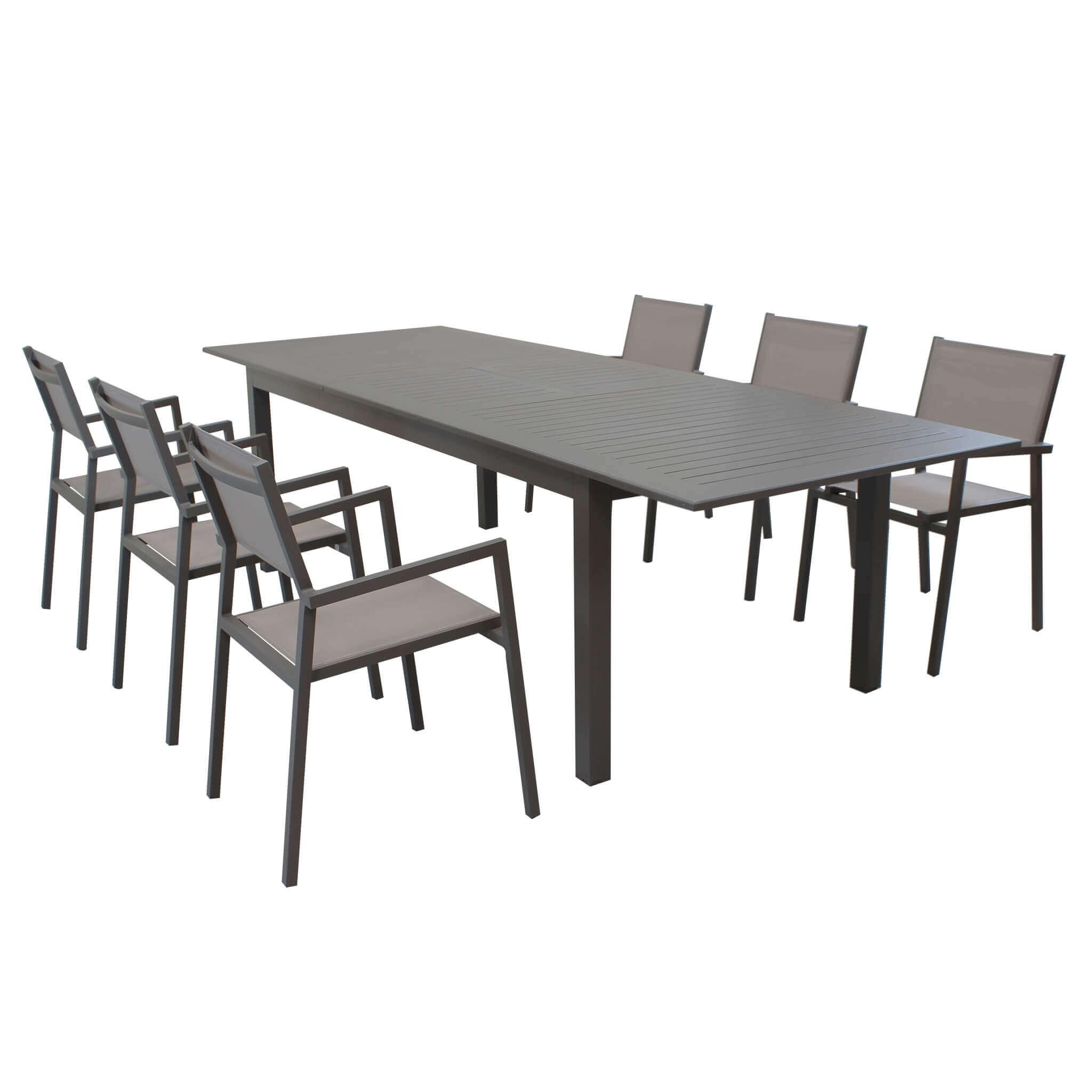 Milani Home ARGENTUM - set tavolo da giardino allungabile 220/280 x 100 compreso di 6 poltrone in alluminio