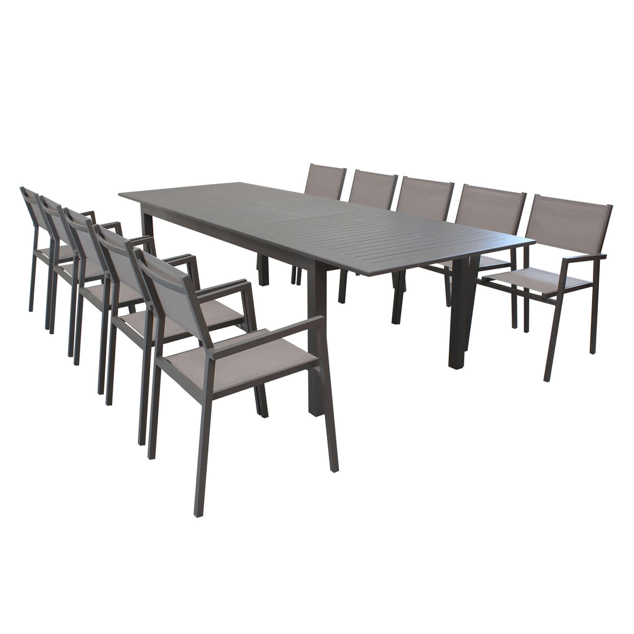 Milani Home ARGENTUM - set tavolo da giardino allungabile 220/280 x 100 compreso di 10 poltrone in alluminio