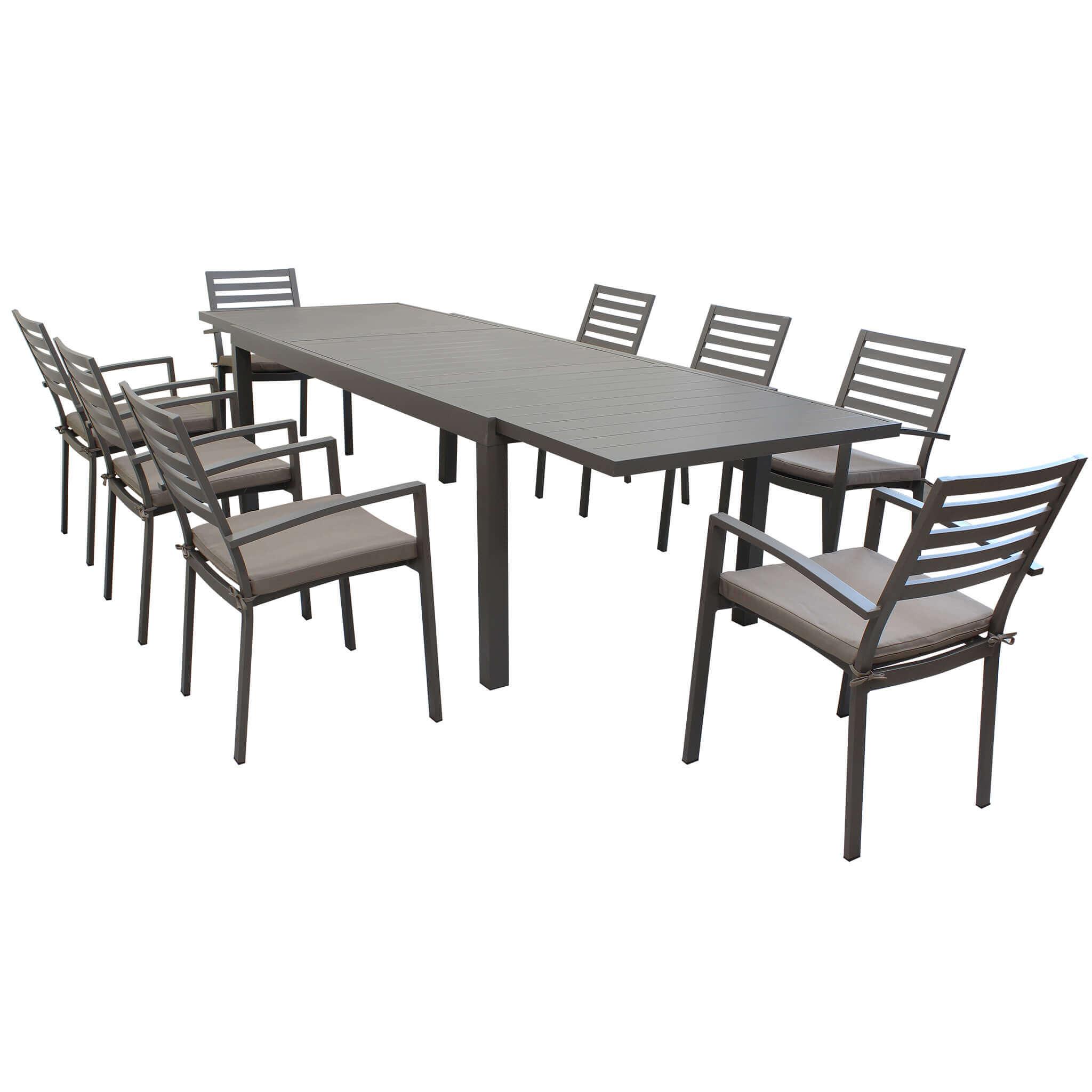 Milani Home DEXTER - set tavolo da giardino allungabile 200/300 x 100 compreso di 8 poltrone in alluminio