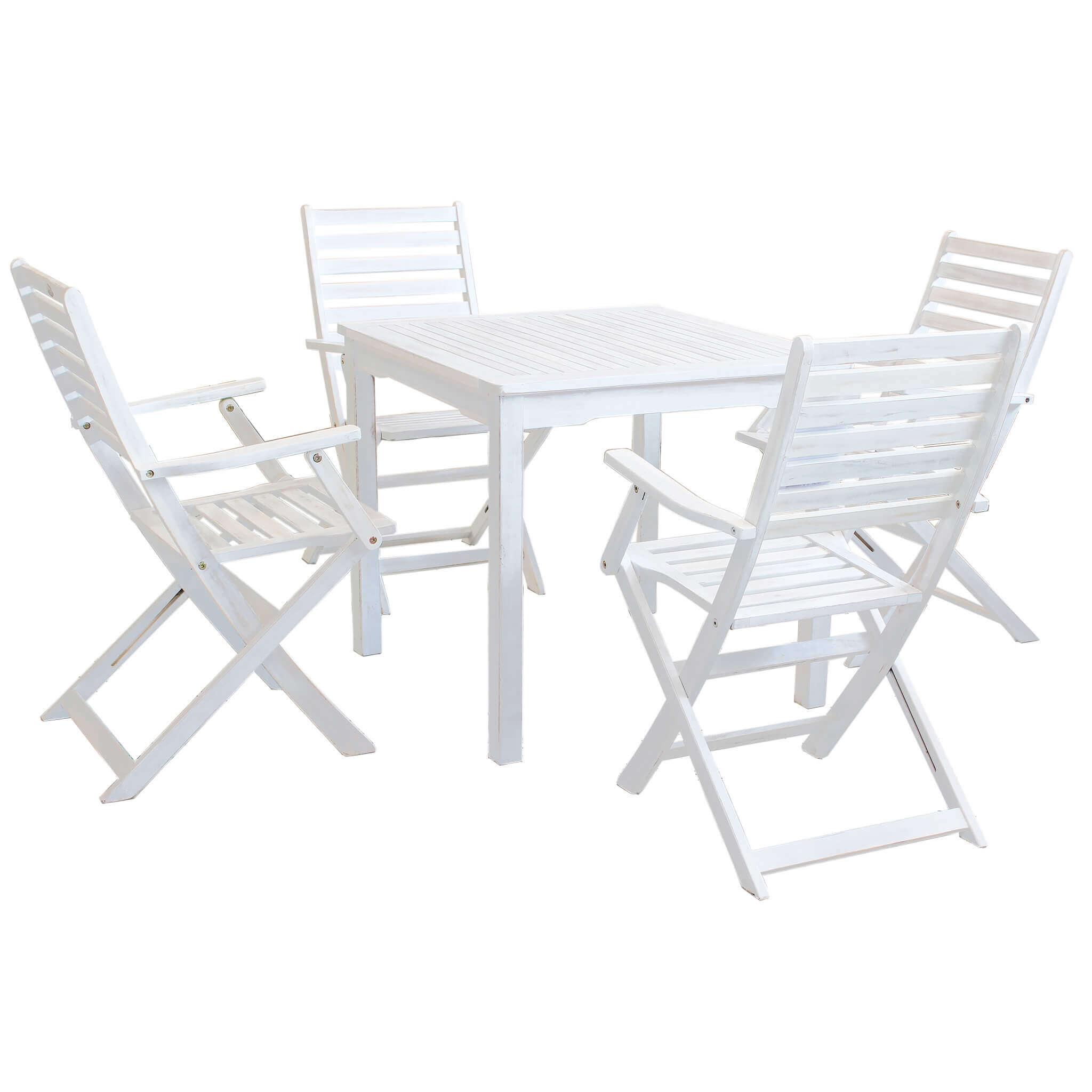 Milani Home AARON - set tavolo da giardino 80 x 80 compreso di 4 poltrone in legno massiccio di acacia