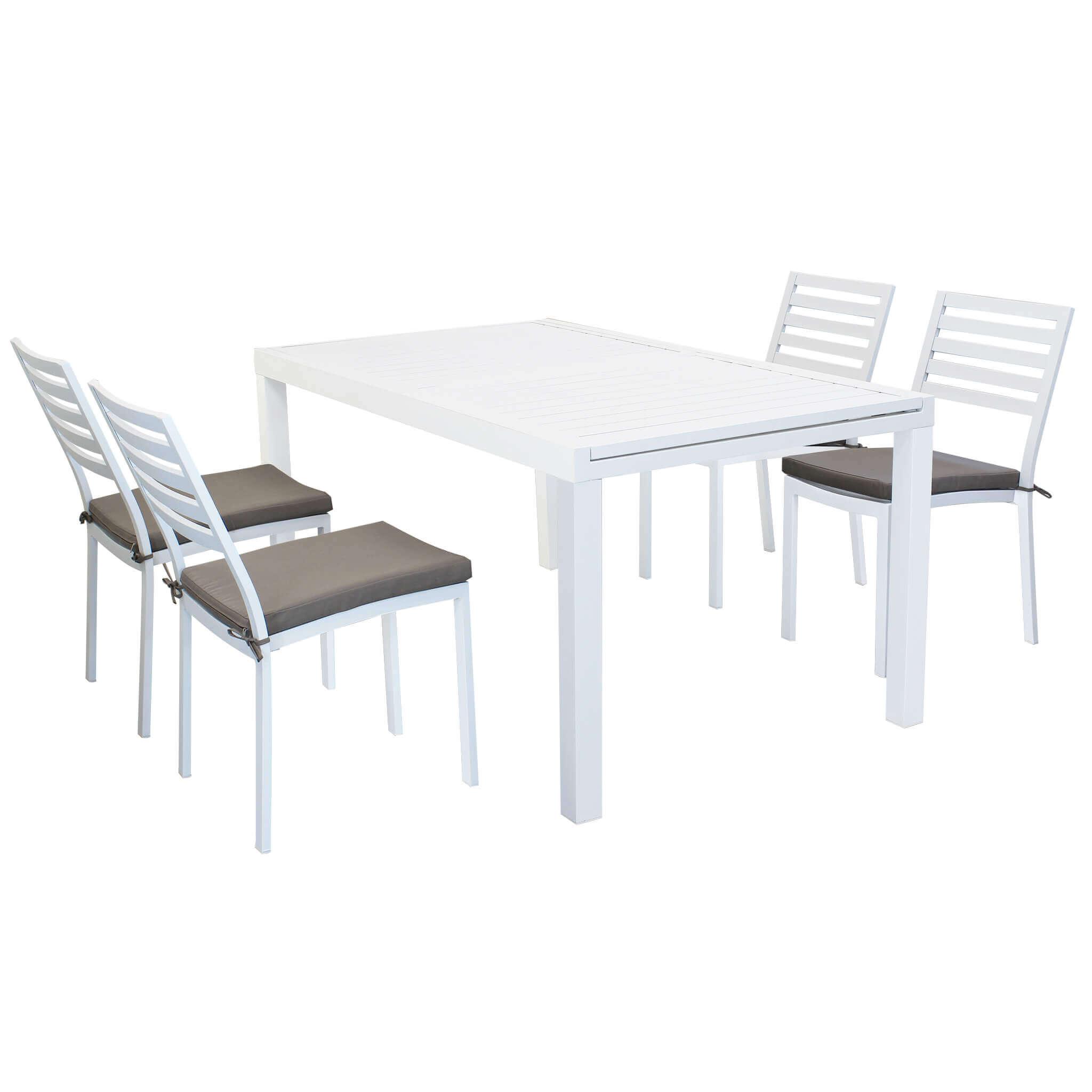 Milani Home DEXTER - set tavolo da giardino allungabile 160/240 x 90 compreso di 4 sedie in alluminio