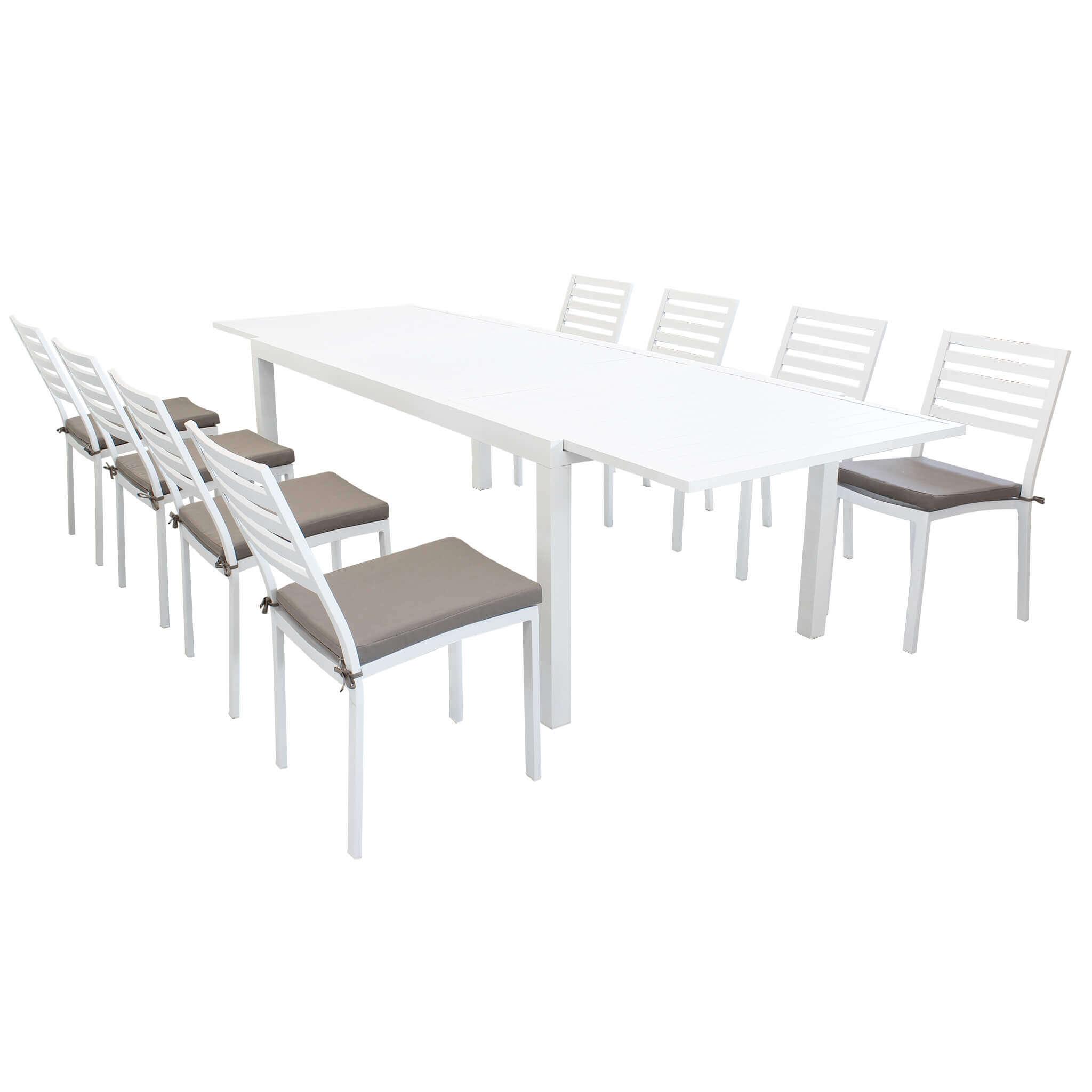 Milani Home DEXTER - set tavolo da giardino allungabile 200/300 x 100 compreso di 8 sedie in alluminio