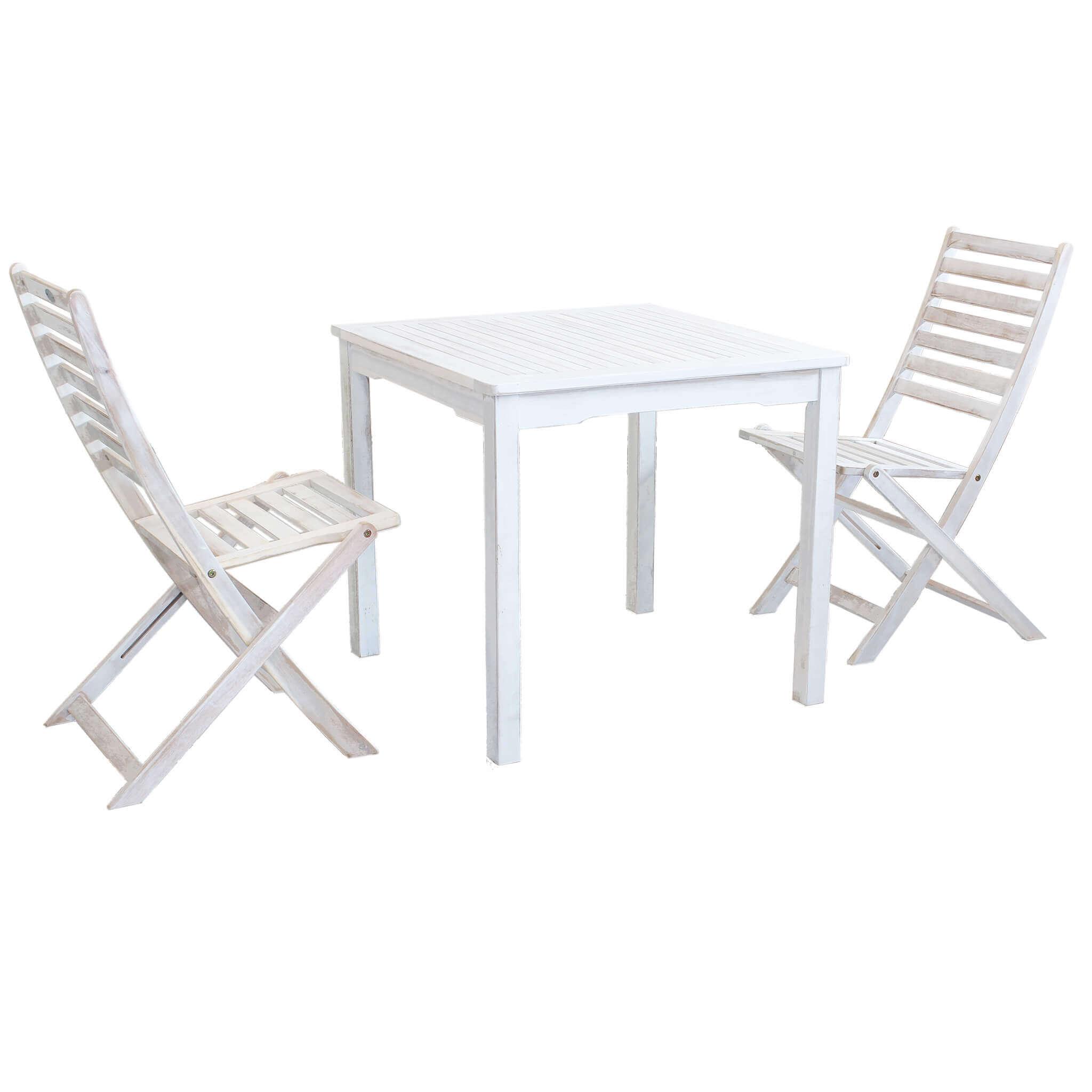Milani Home ABEL - set tavolo da giardino 80 x 80 compreso di 2 sedie in legno massiccio di acacia