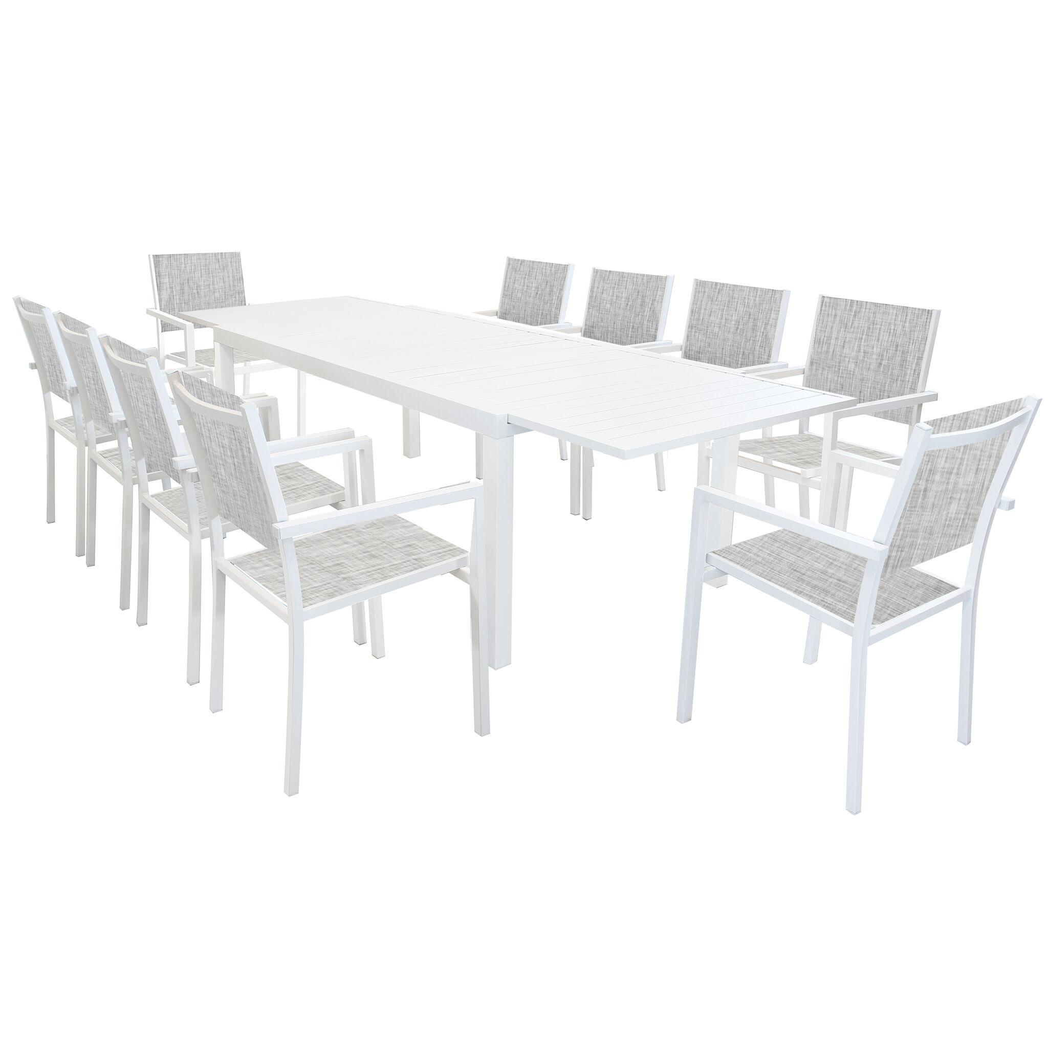 Milani Home DEXTER - set tavolo da giardino allungabile 200/300 x 100 compreso di 10 poltorne in alluminio