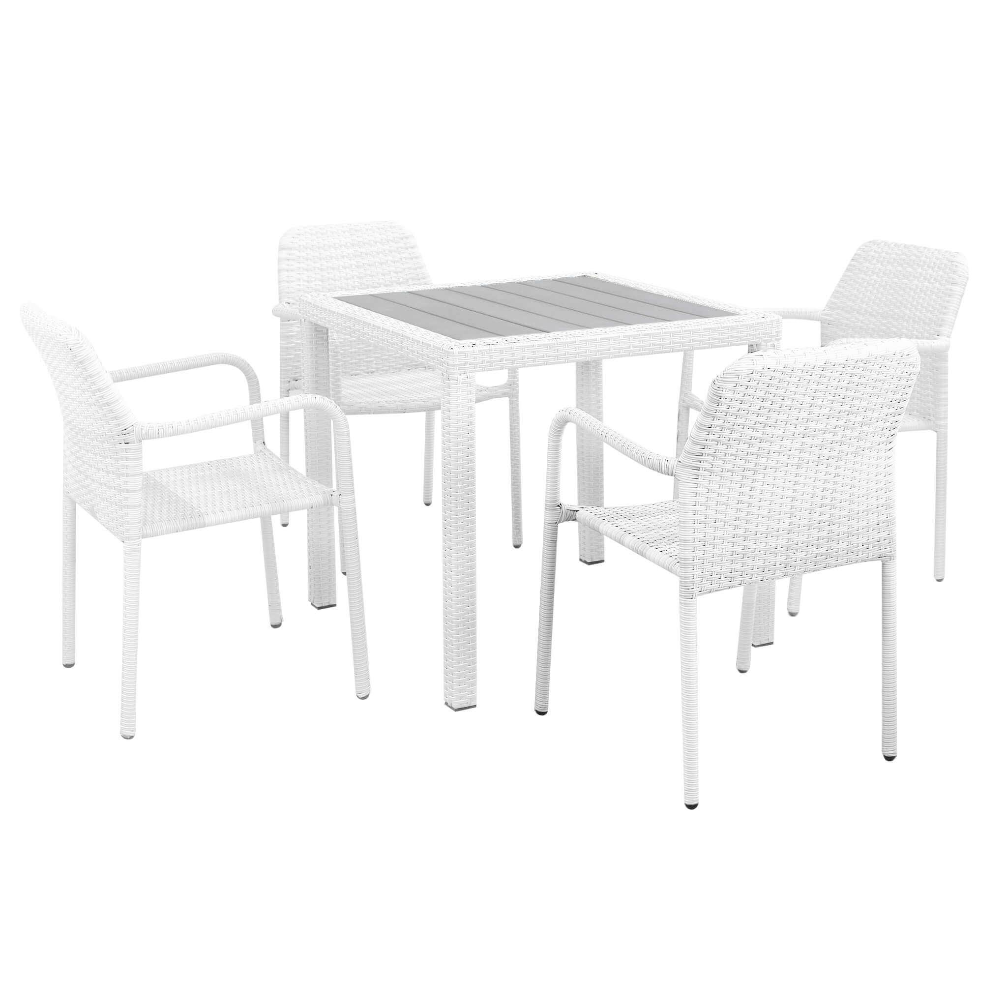 Milani Home AXOR - set tavolo da giardino con piano in polywood 80 x 80 compreso di 4 poltrone intreccio in rattan sintetico