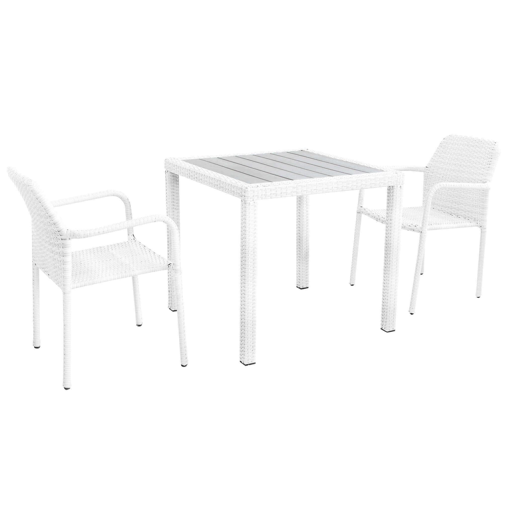 Milani Home AXOR - set tavolo da giardino con piano in polywood 80 x 80 compreso di 2 poltrone intreccio in rattan sintetico