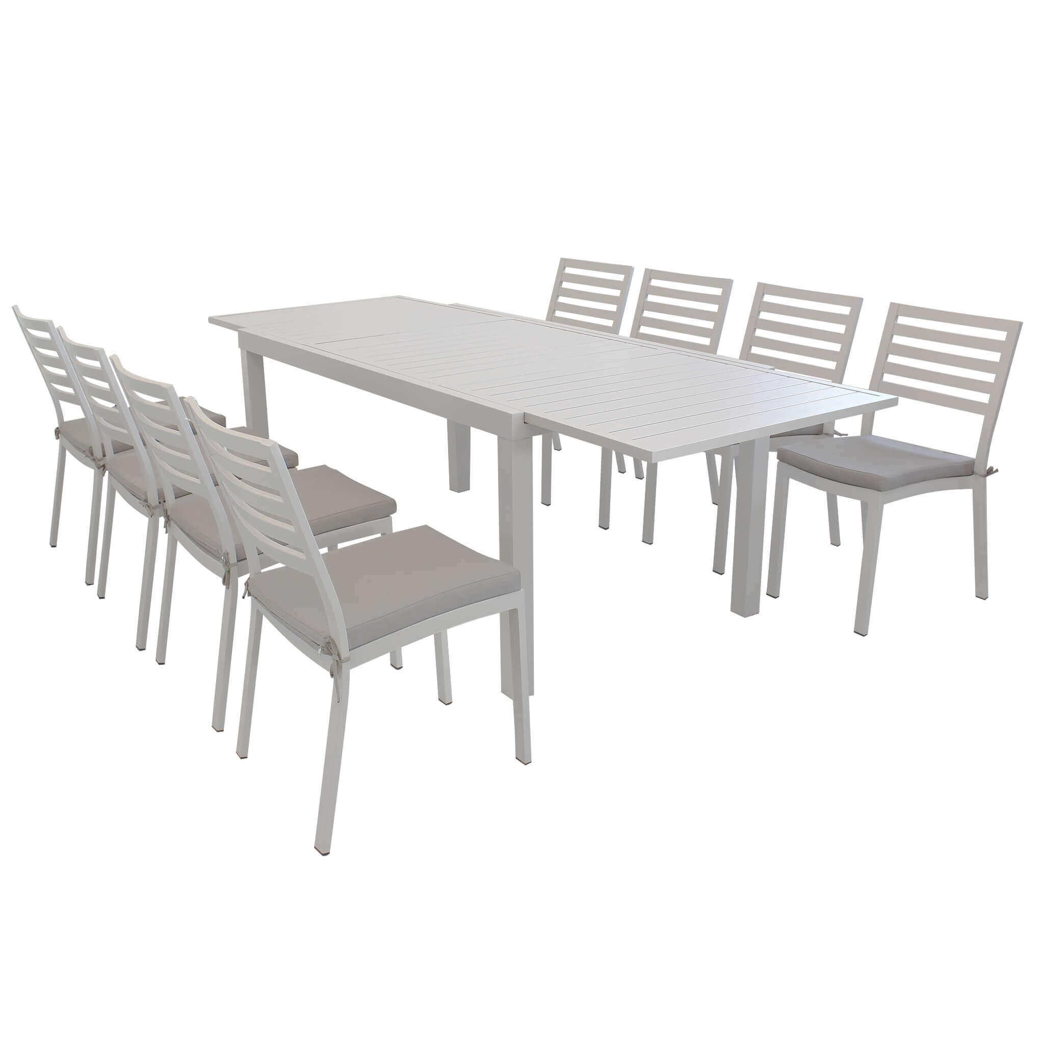 Milani Home DEXTER - set tavolo da giardino allungabile 160/240 x 90 compreso di 8 sedie in alluminio