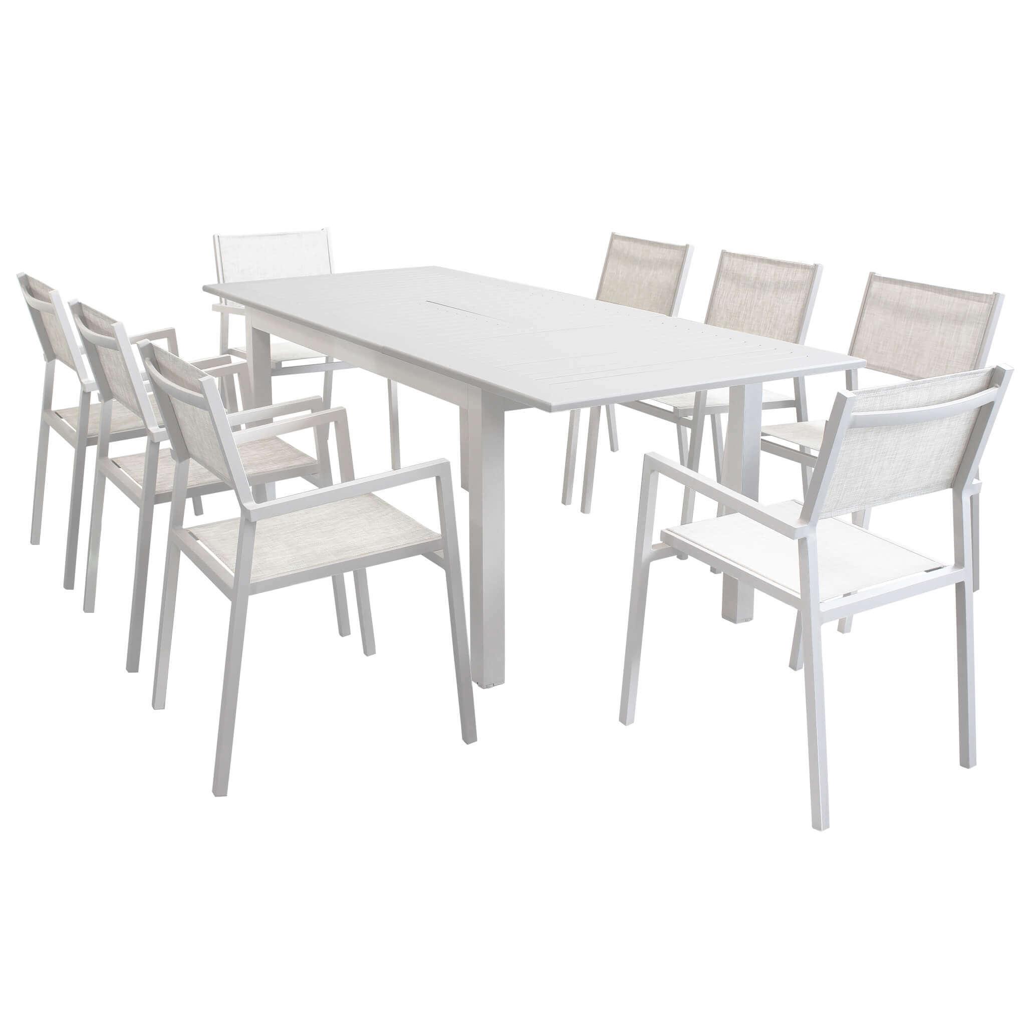 Milani Home ARGENTUM - set tavolo da giardino allungabile 150/210 x 90 compreso di 8 poltrone in alluminio