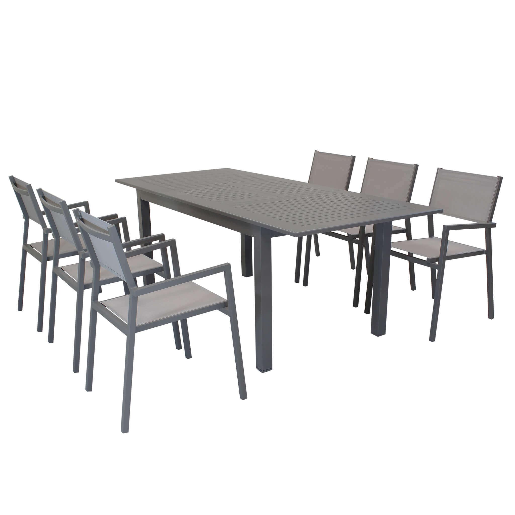 Milani Home ARGENTUM - set tavolo da giardino allungabile 150/210 x 90 compreso di 6 poltrone in alluminio