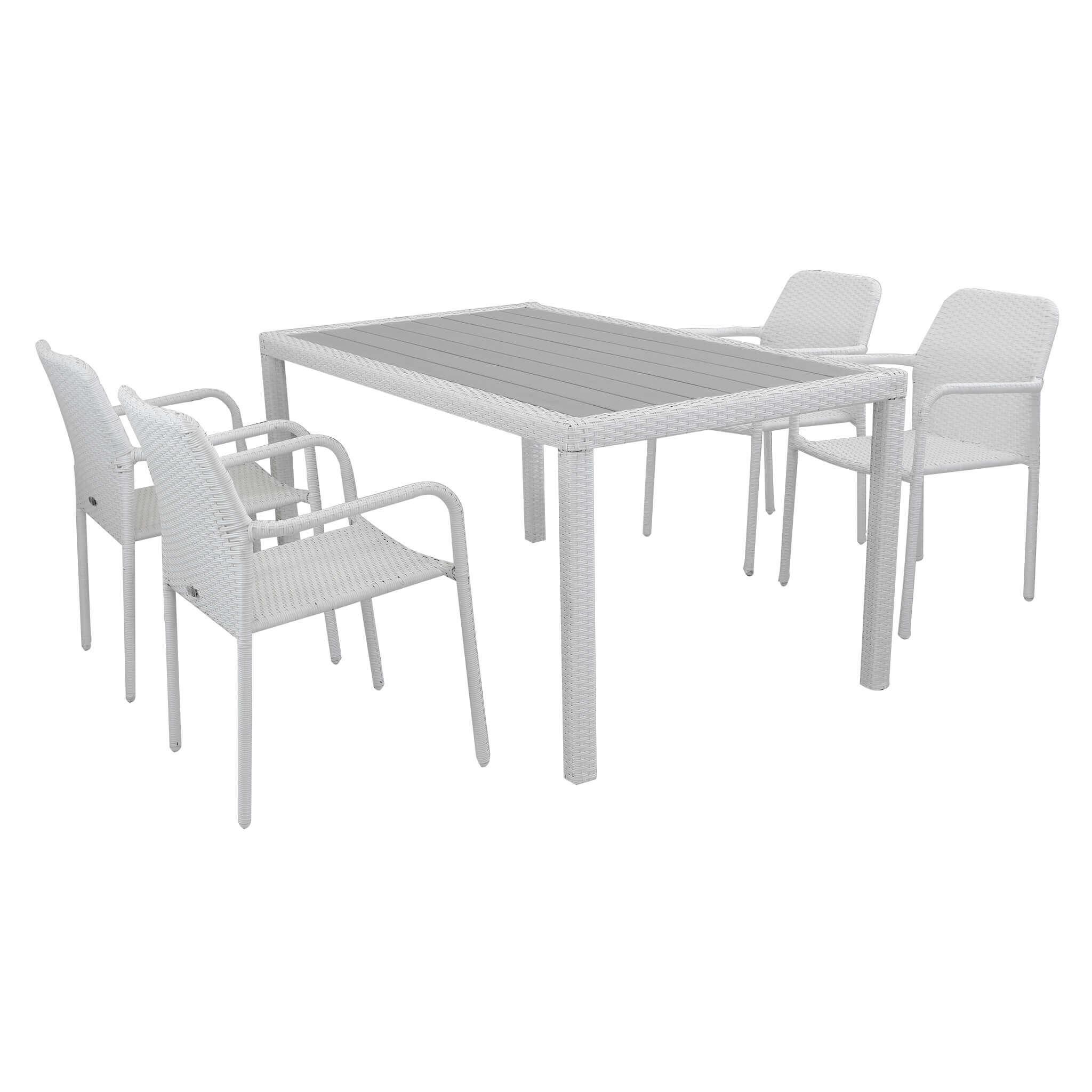 Milani Home AXOR - set tavolo da giardino con piano in polywood 150 x 90 compreso di 4 poltrone intreccio in rattan sintetico