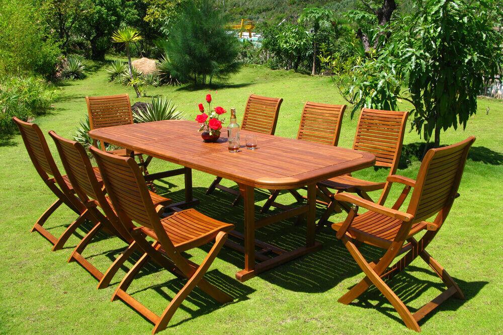 Milani Home TURRIS - set tavolo da giardino allungabile 150/200 x 90 compreso di 6 sedie e 2 poltrone in legno massiccio di acacia
