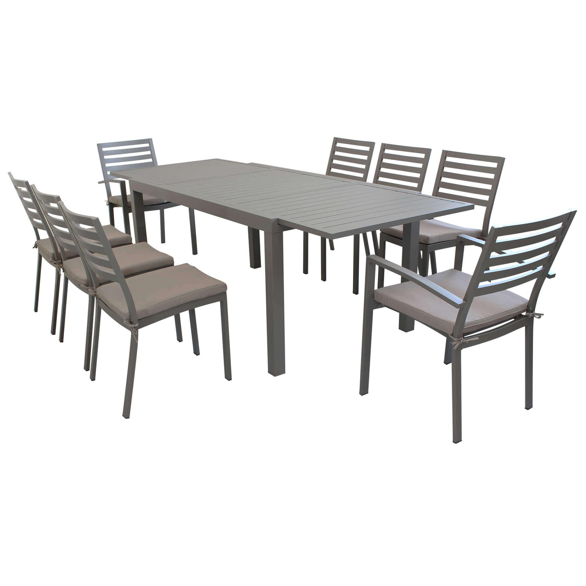 Milani Home DEXTER - set tavolo da giardino allungabile 160/240 x 90 compreso di 6 sedie e 2 poltrone in alluminio