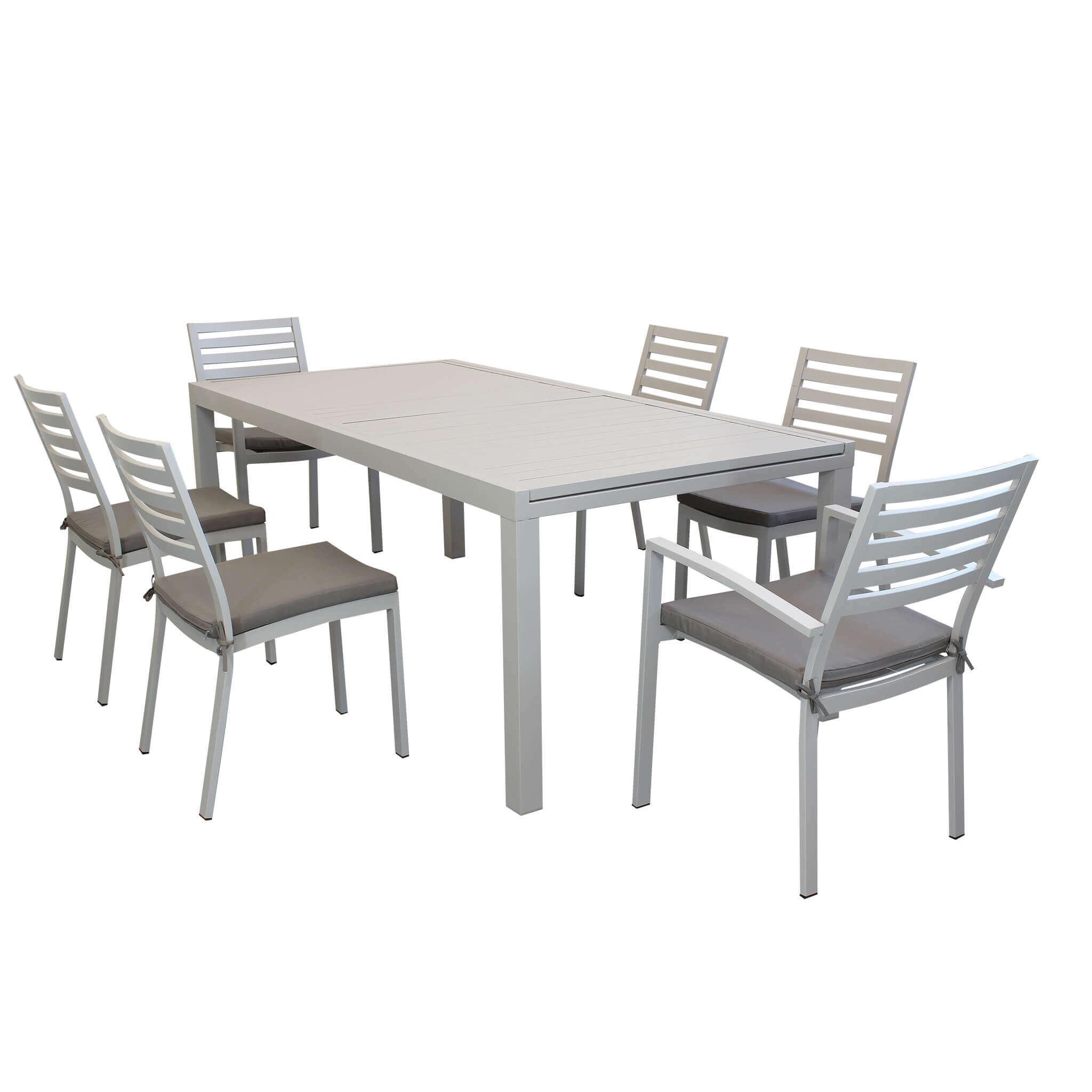 Milani Home DEXTER - set tavolo da giardino allungabile 200/300 x 100 compreso di 4 sedie e 2 poltrone in alluminio