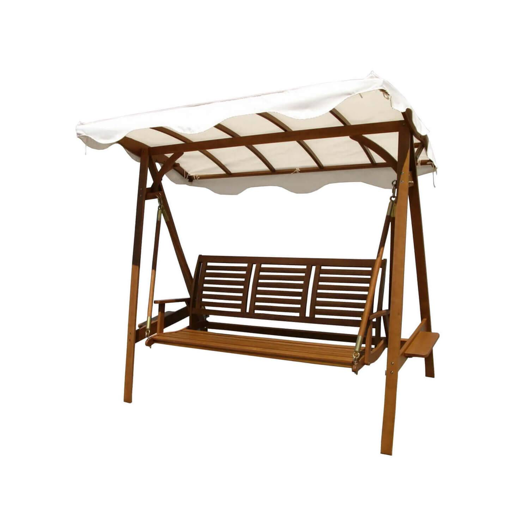 Milani Home ADAMAS - dondolo da giardino in legno massiccio di acacia 3 posti