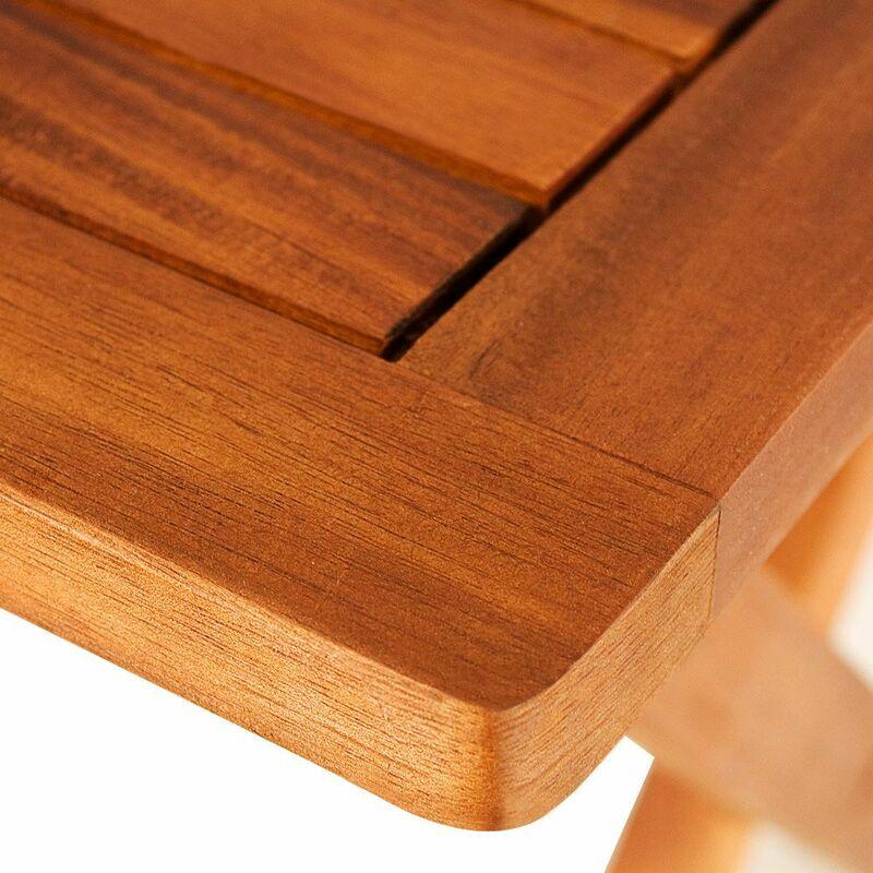 Milani Home SOLEA - tavolino da giardino pieghevole in legno massiccio di acacia 70 x 70