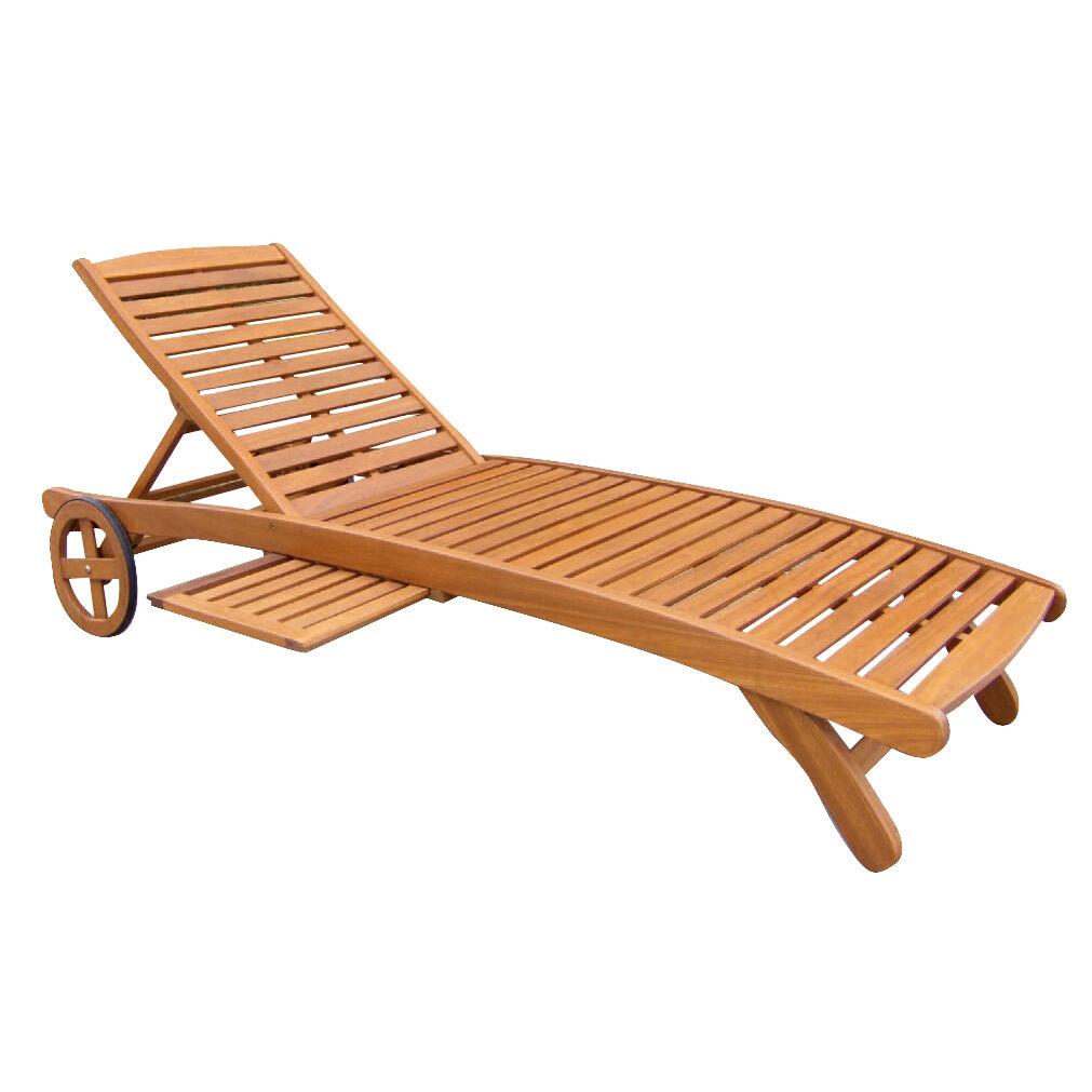 Milani Home SILIS - lettino prendisole in legno massiccio di acacia con ruote