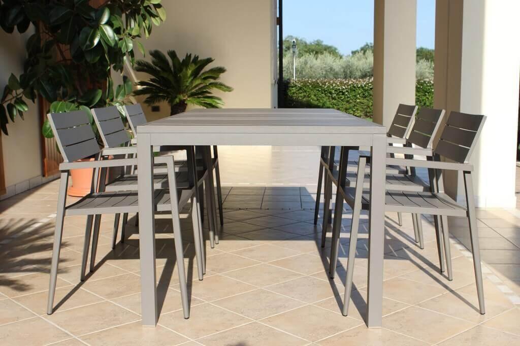 Milani Home MASILIA - tavolo da giardino in alluminio 200 x 90 x 75