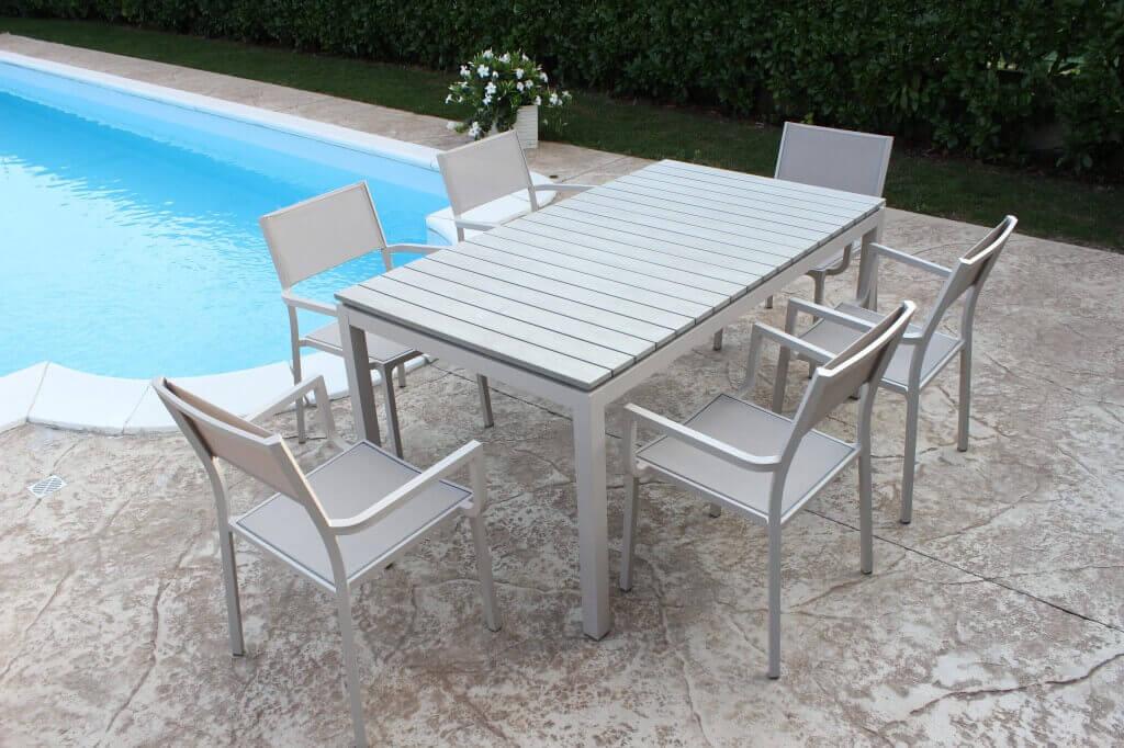 Milani Home JULES - tavolo da giardino in alluminio 160 x 90 x 74