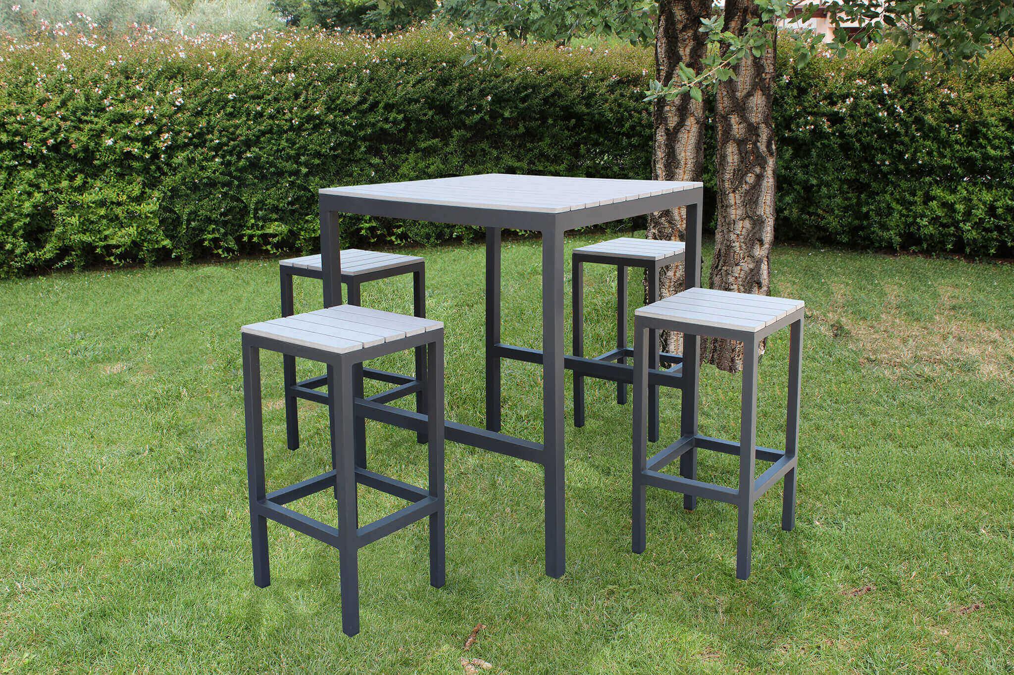Milani Home TAURUS - set tavolo bar completo  con 4 sgabelli in alluminio