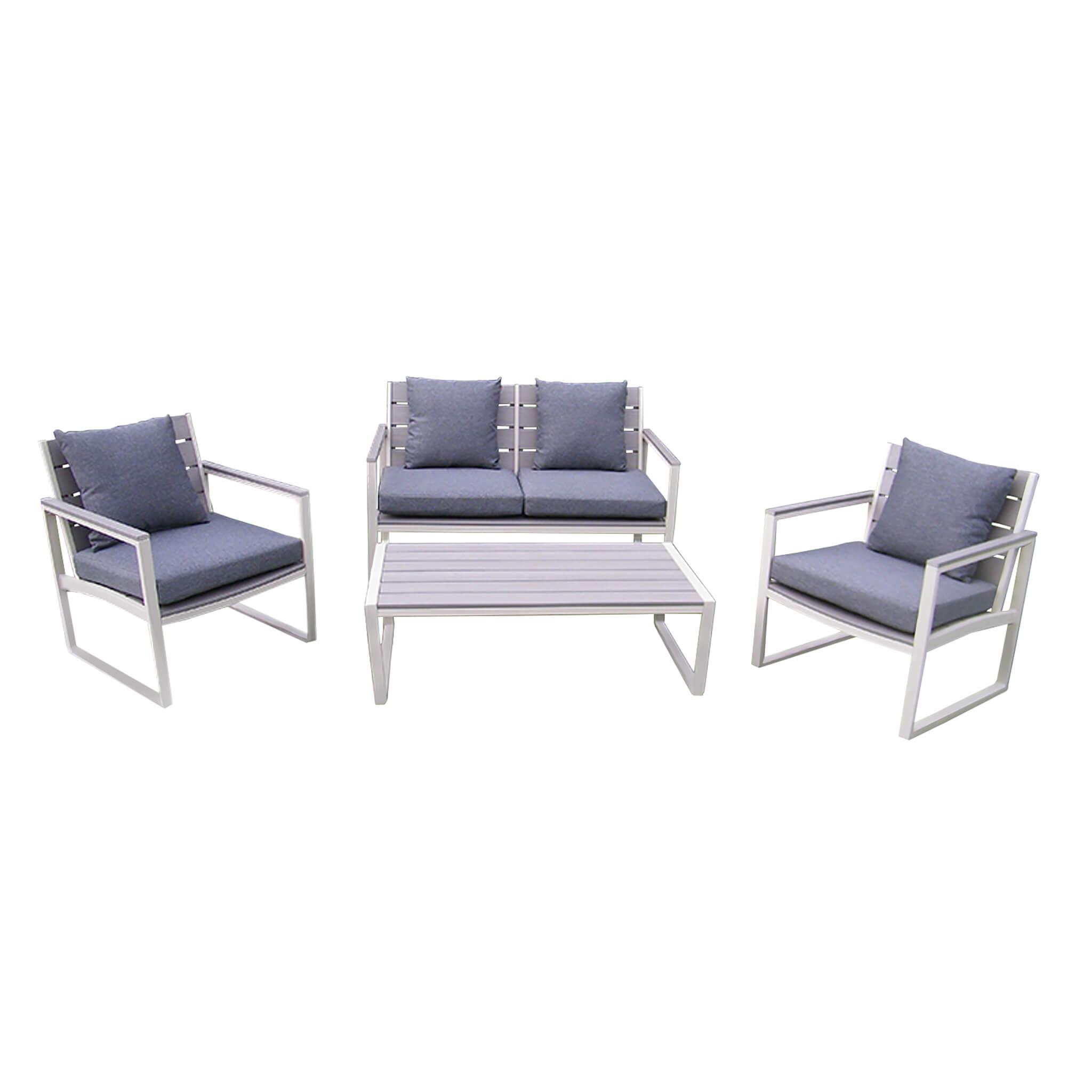 Milani Home TORUS - salotto da giardino 2 posti in alluminio e polywood completo di cuscini