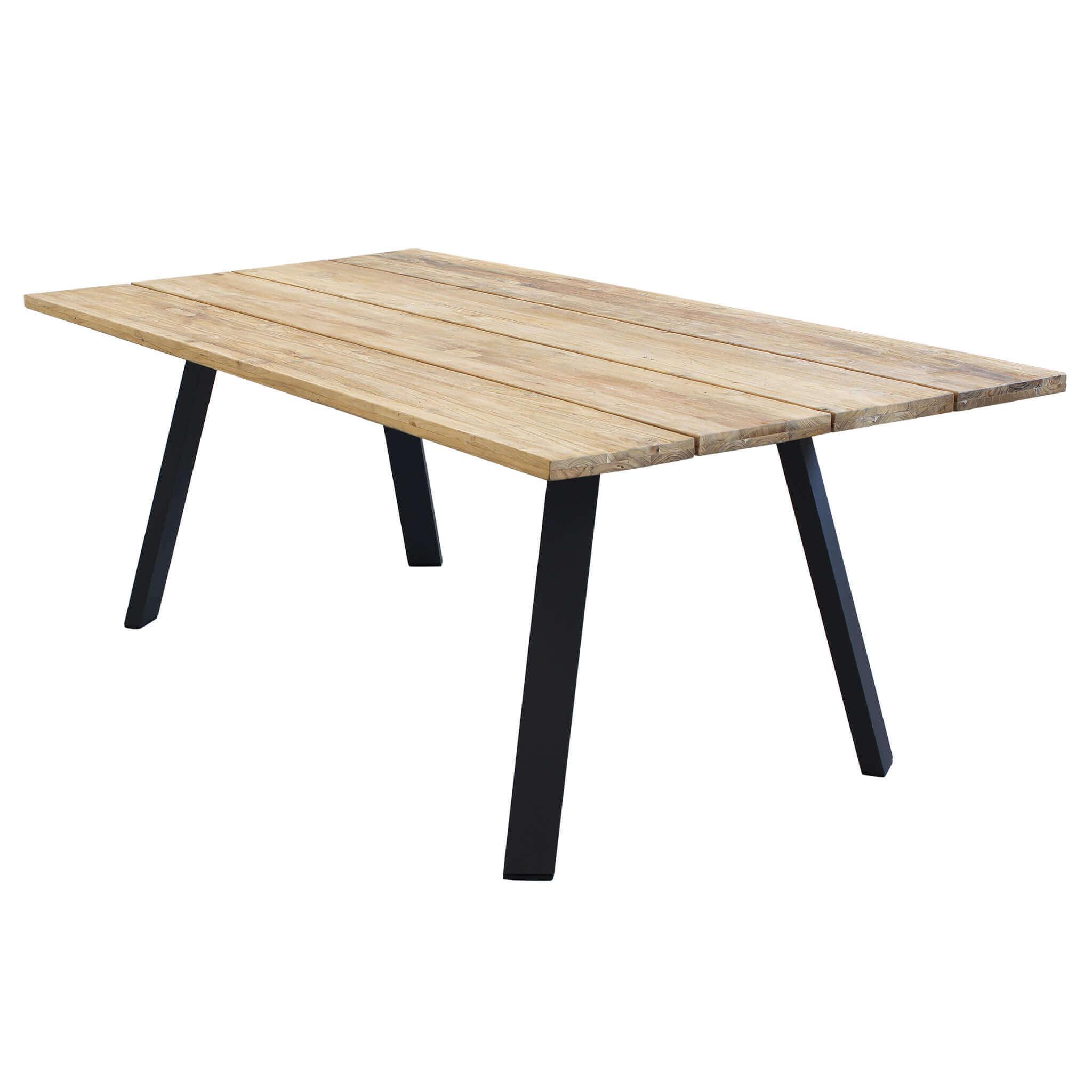 Milani Home SALTUS - tavolo da giardino in alluminio e teak riciclato 200 x 100
