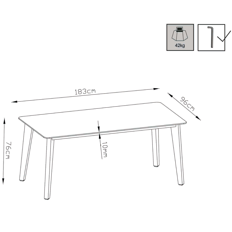Milani Home URANUS - tavolo da giardino in alluminio e laminato ad pressione hpl 180 x 90