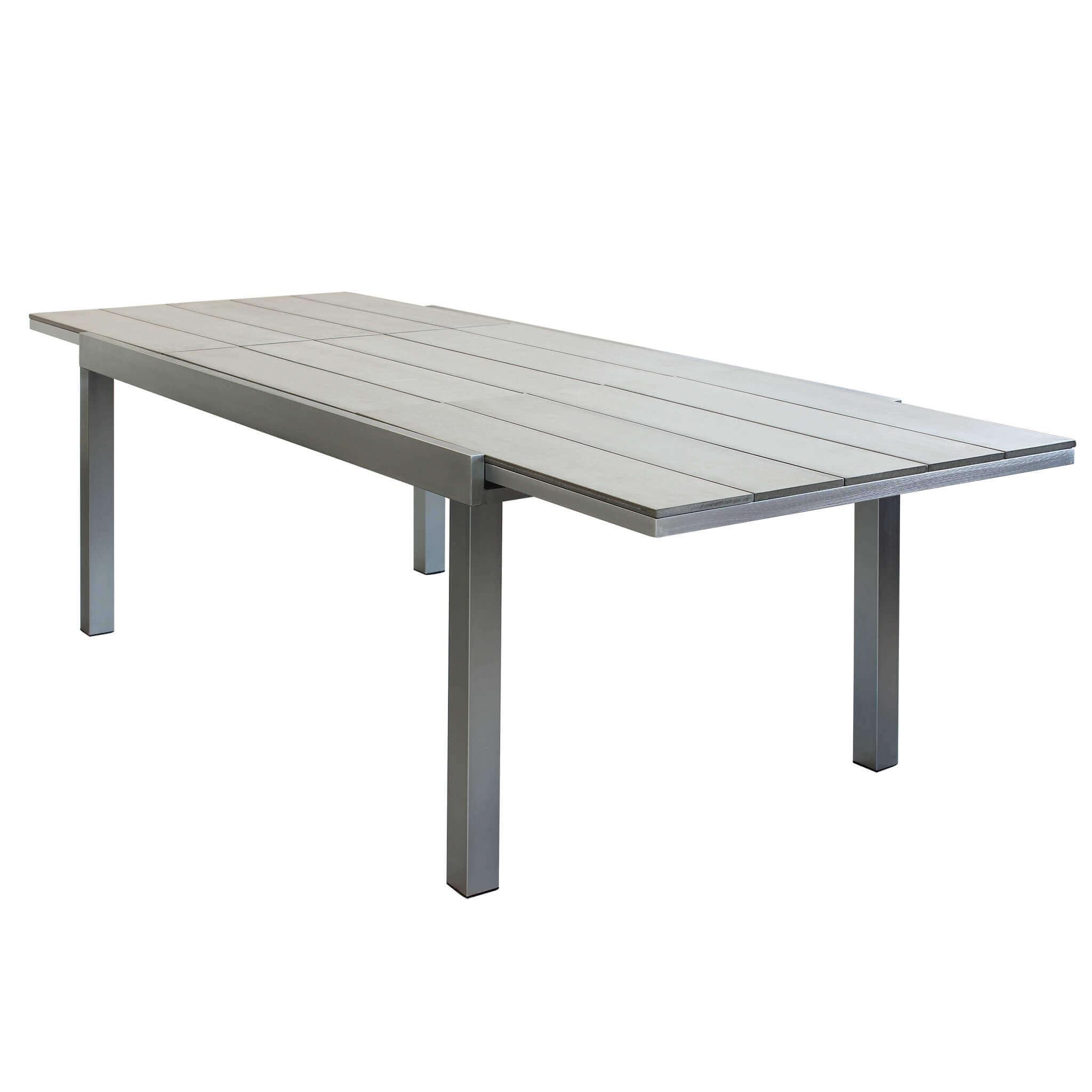 Milani Home GUALTERUS - tavolo da giardino allungabile in alluminio spazzolato 180/240 x 95