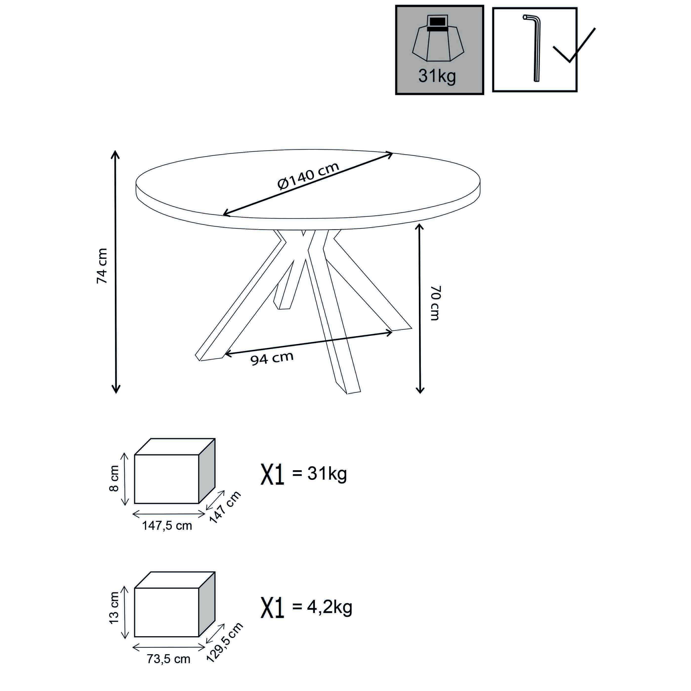 milani home ibex - tavolo da giardino in alluminio e cementite effetto legno ø 140