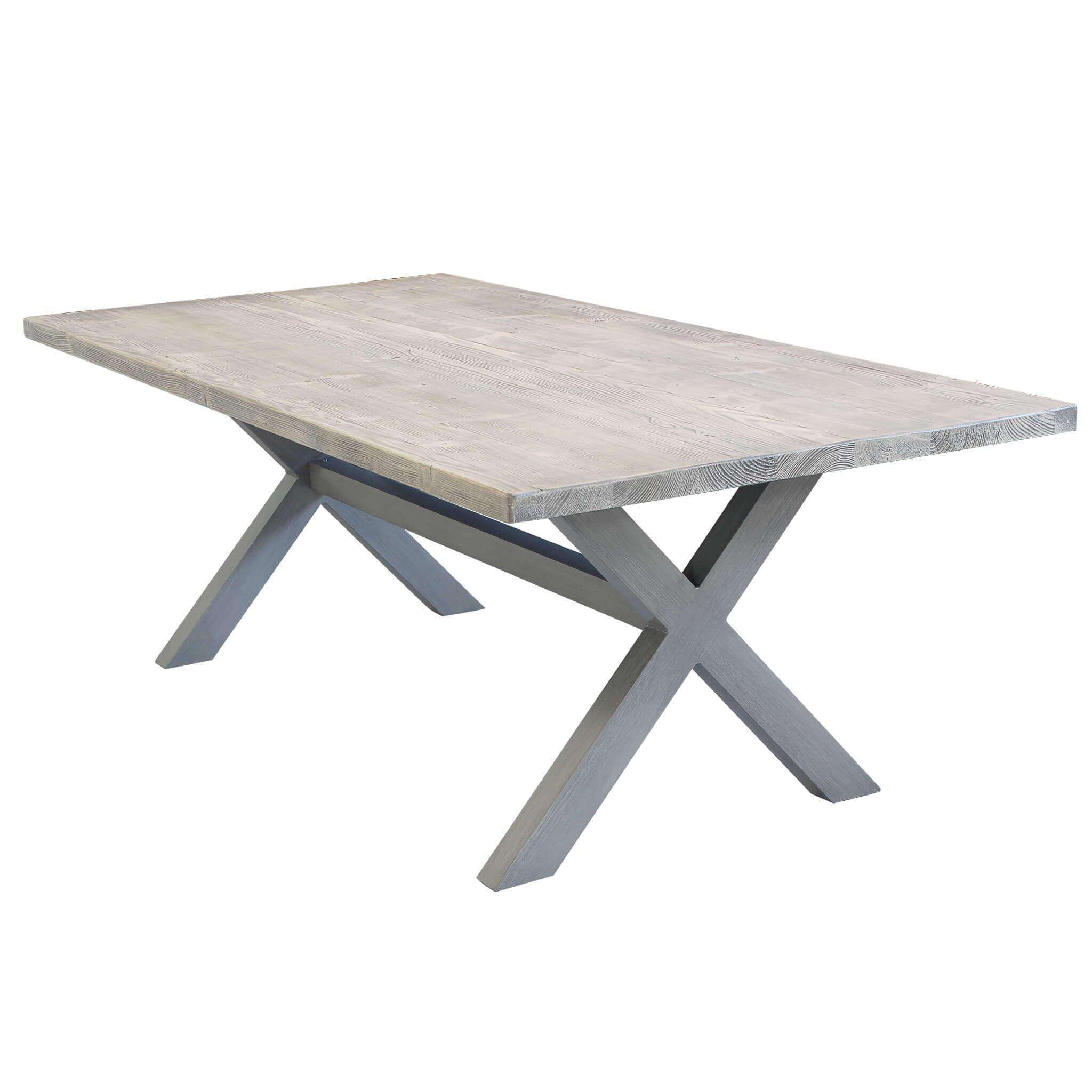 Milani Home IBEX - tavolo da giardino in alluminio e cementite effetto legno 200 x 100