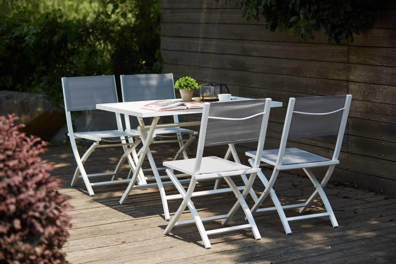 Milani Home ABELUS - tavolo da giardino pieghevole salvaspazio in alluminio 70 x 130