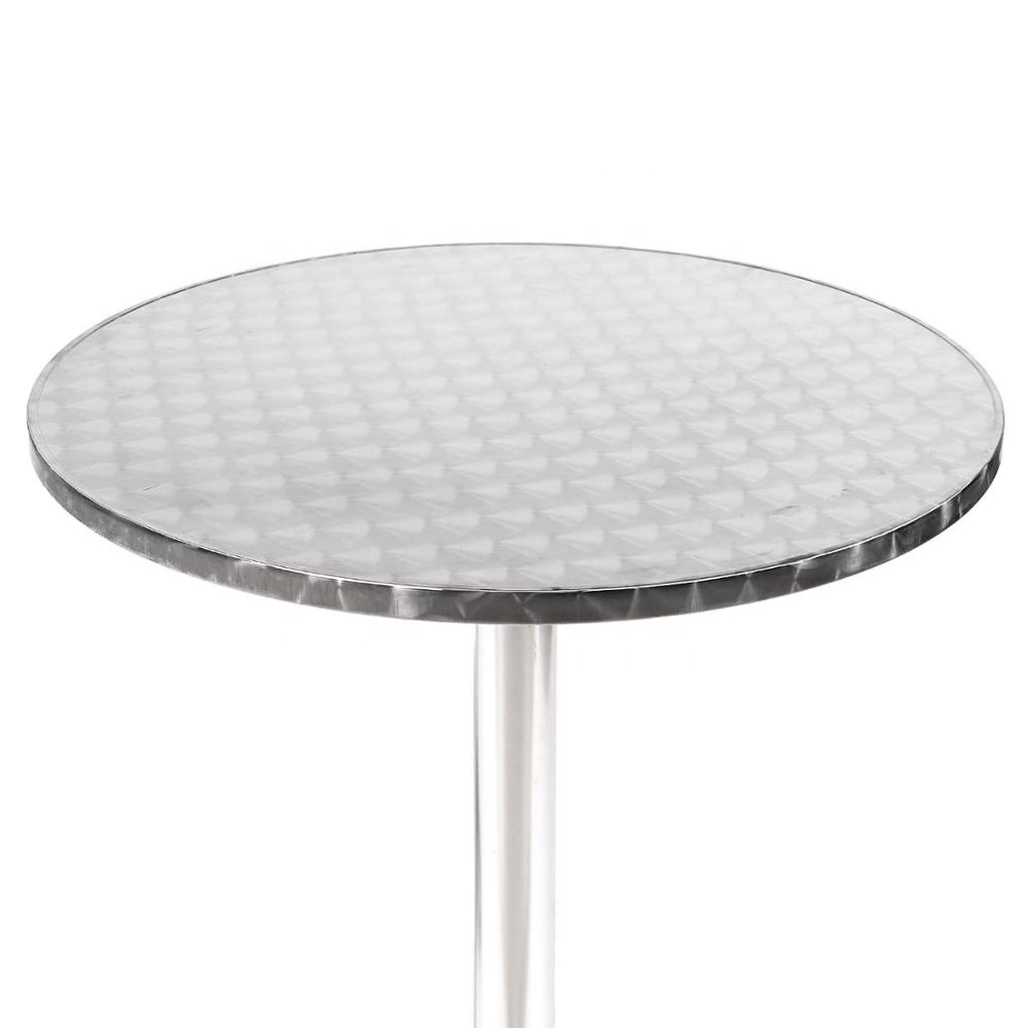 Milani Home tavolo rotondo a colonna acciaio e alluminio waterproof ø 60