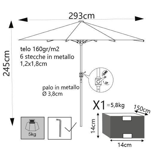 Milani Home SERTUM - ombrellone da giardino ø 3 palo centrale