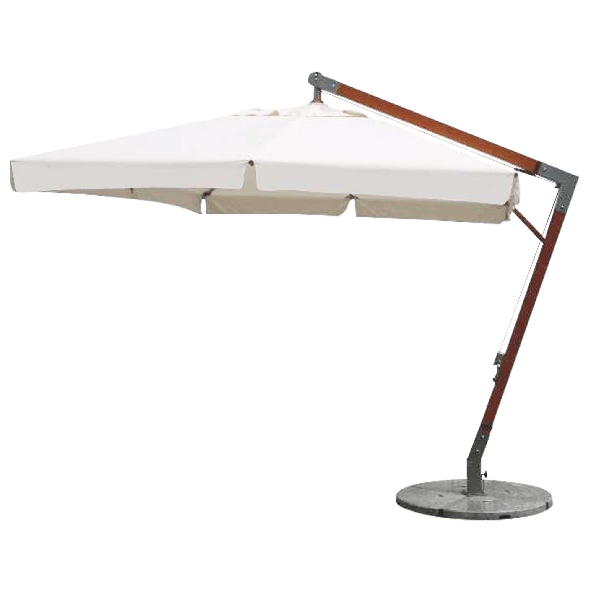 Milani Home VICTOR - ombrellone da giardino 3 x 3 decentrato in legno