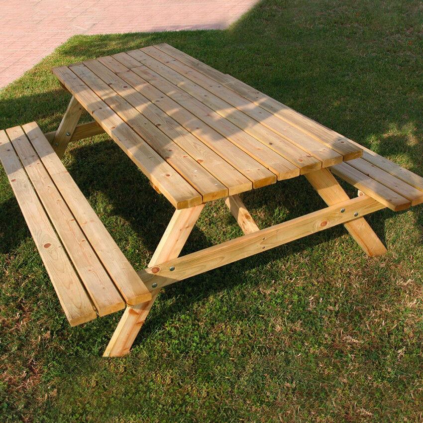 Milani Home tavolo pic nic in legno di pino impregnato in autoclave 200 x 148 x 70