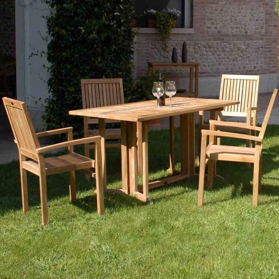Milani Home CHOROS - tavolo da giardino pieghevole in legno di teak 150 x 80